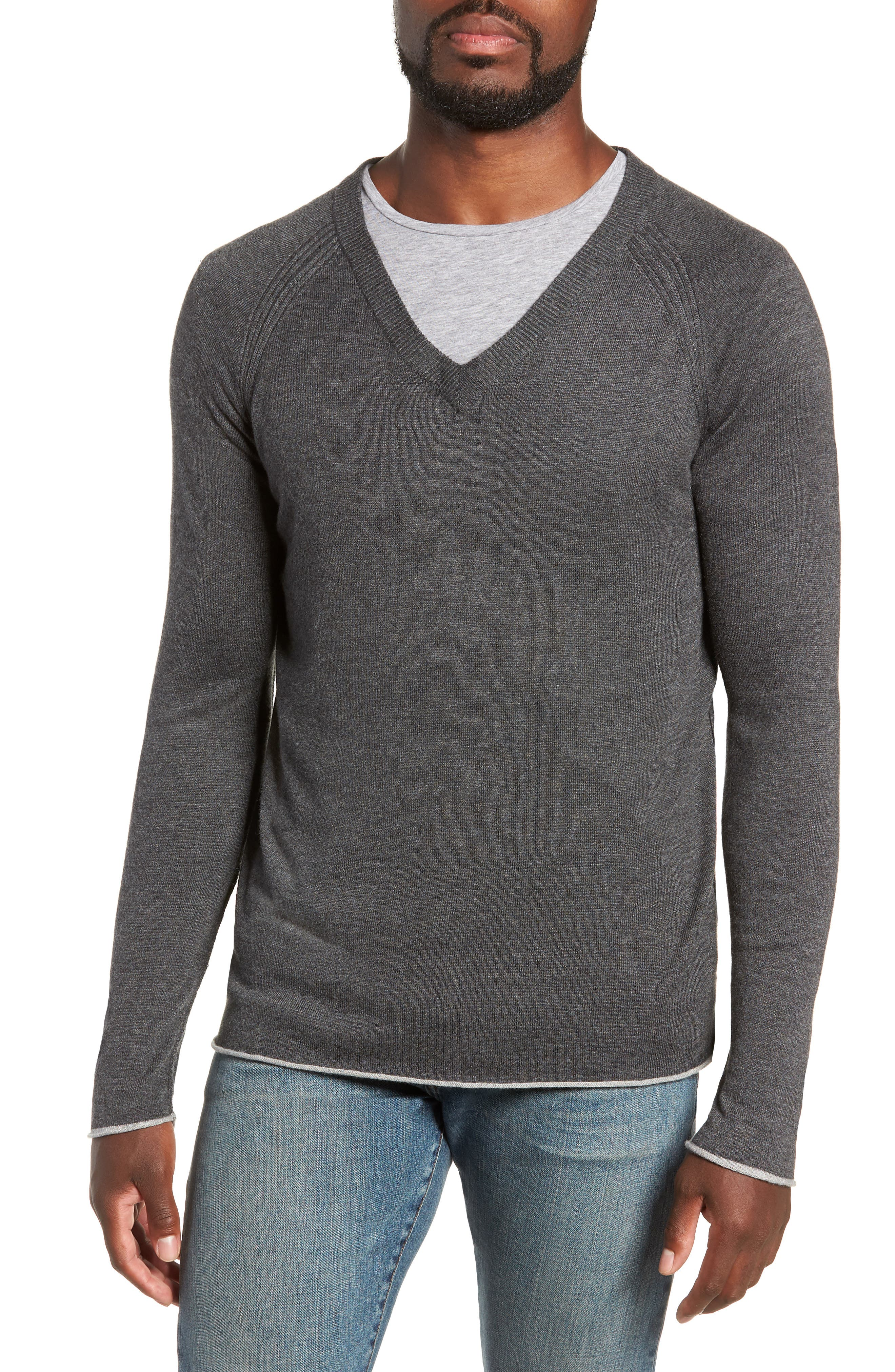 Salinas Cash V-Neck Sweater,                         Main,                         color, CHARCOAL HEATHER