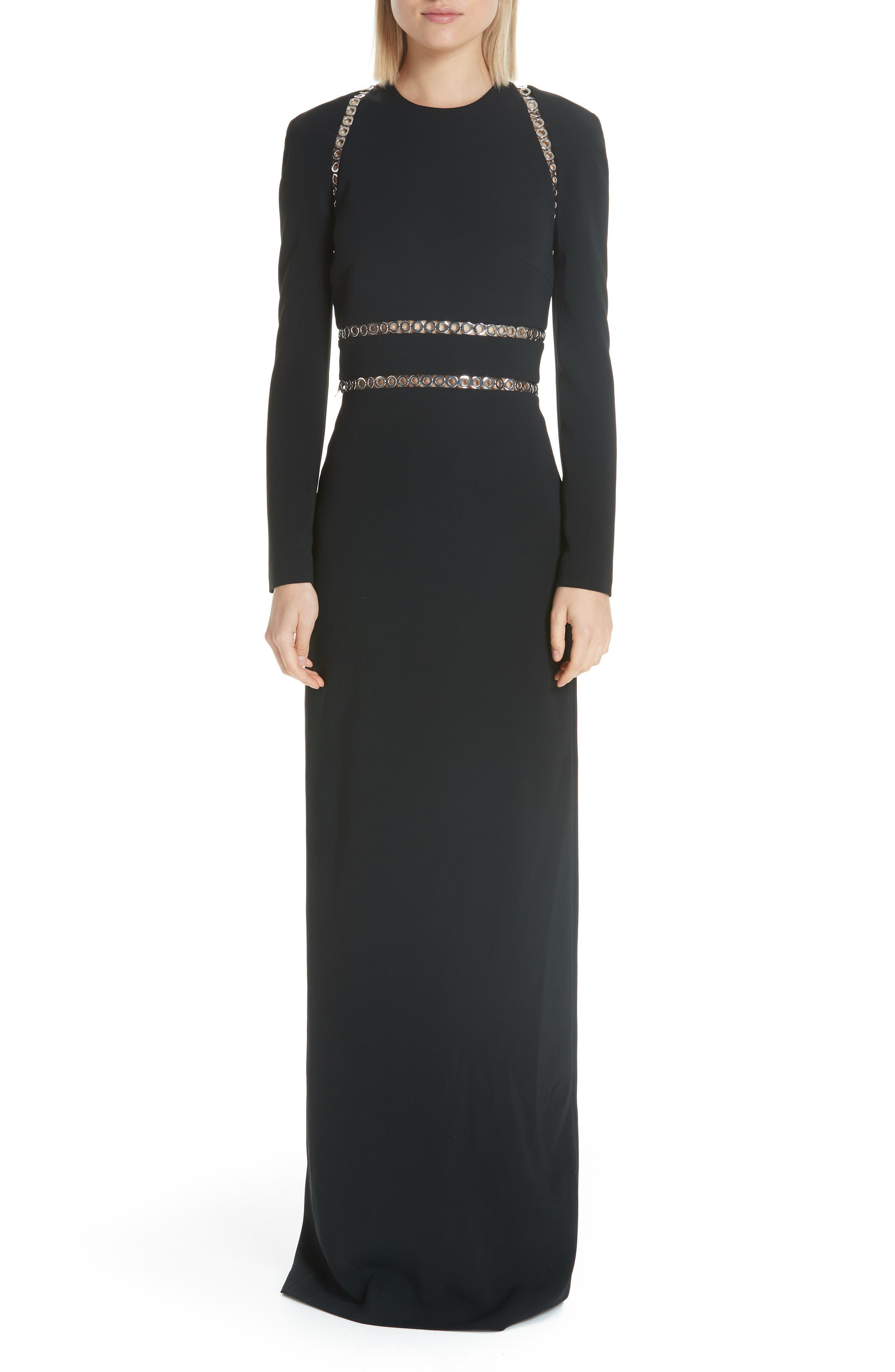 Grommet Trim Gown,                             Main thumbnail 1, color,                             BLACK