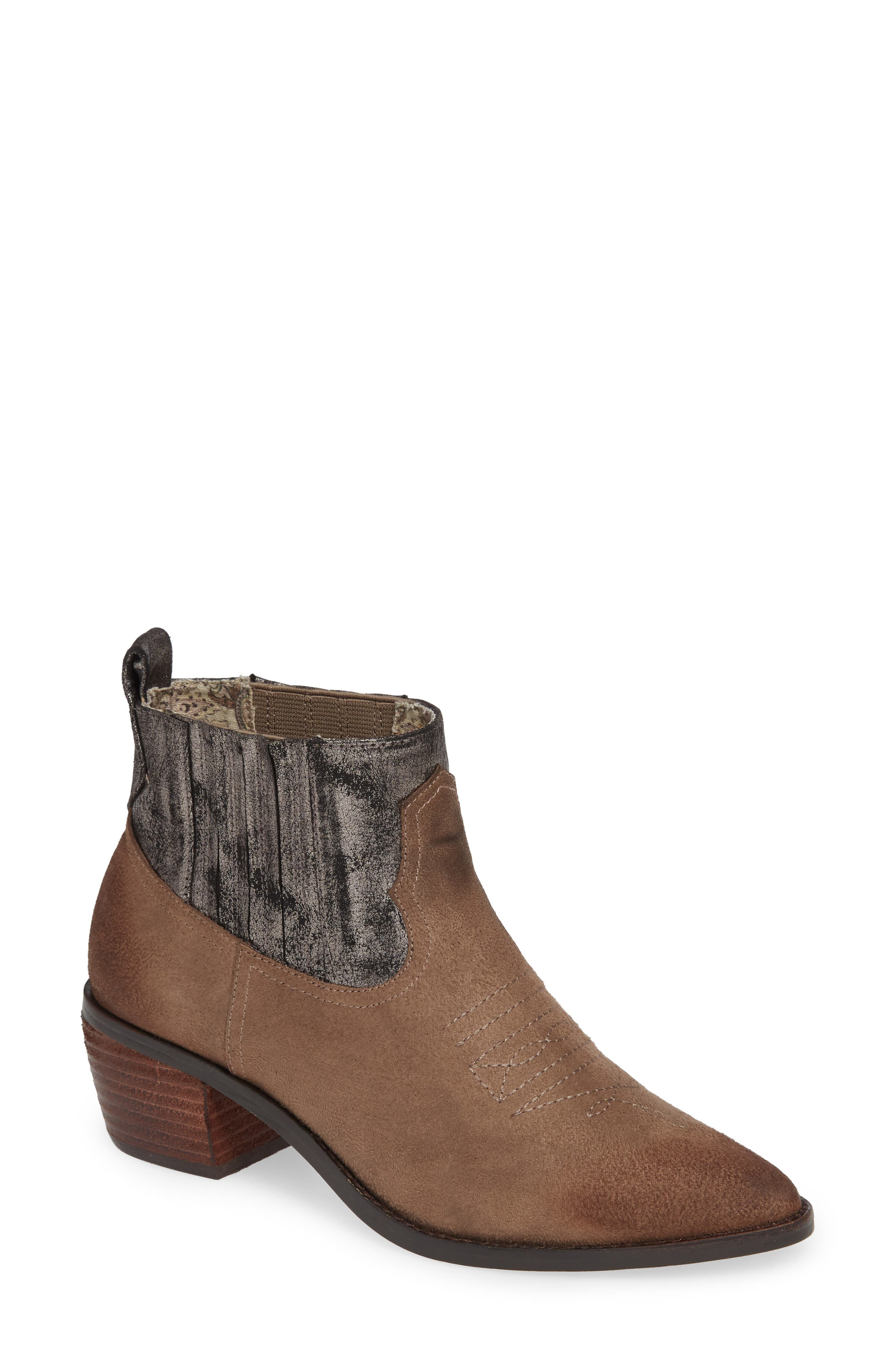 BAND OF GYPSIES Borderline Bootie in Taupe Faux Suede