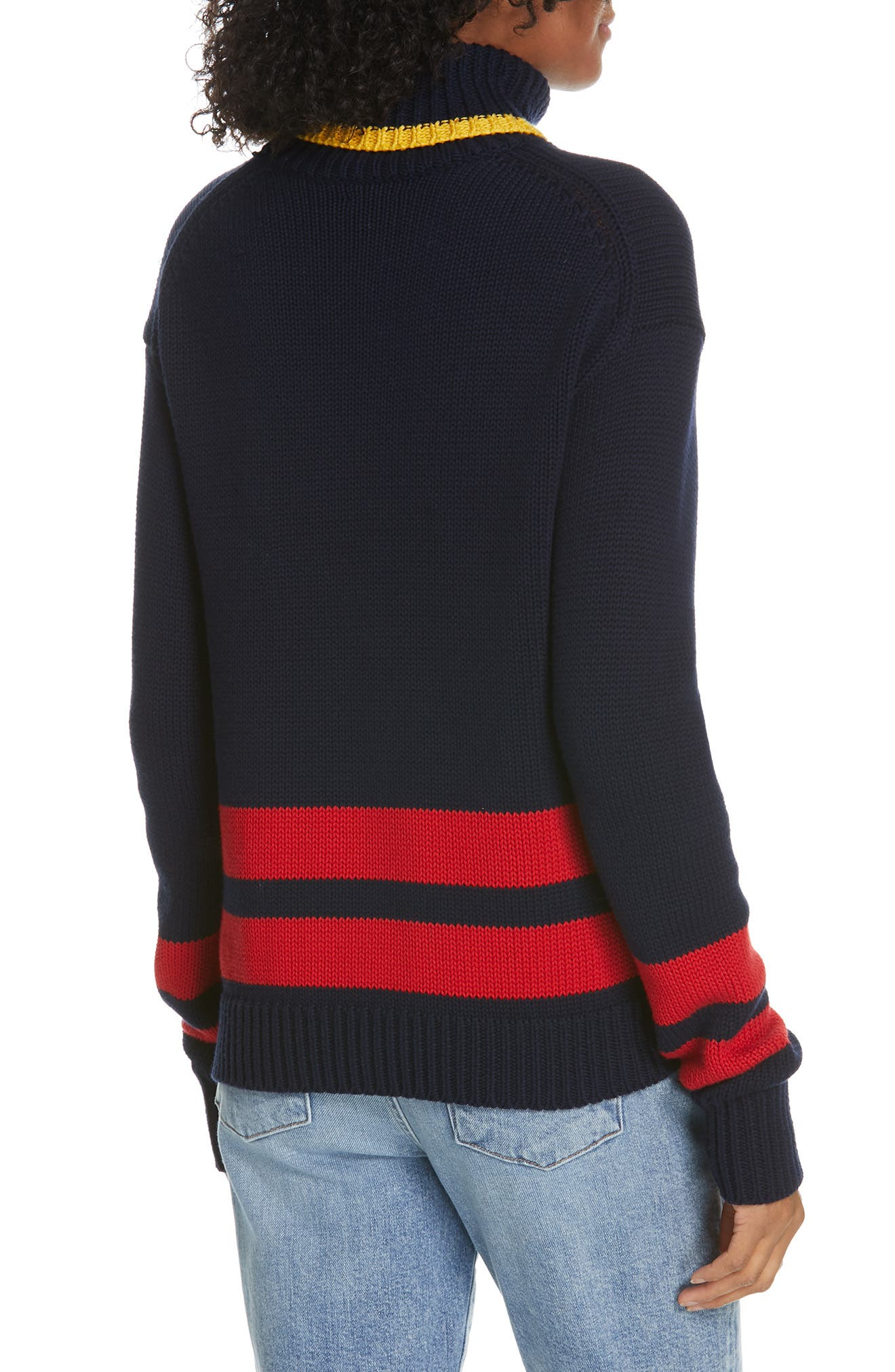 Double Stripe Sweater,                             Alternate thumbnail 2, color,                             NAVY/ RED/ GOLD