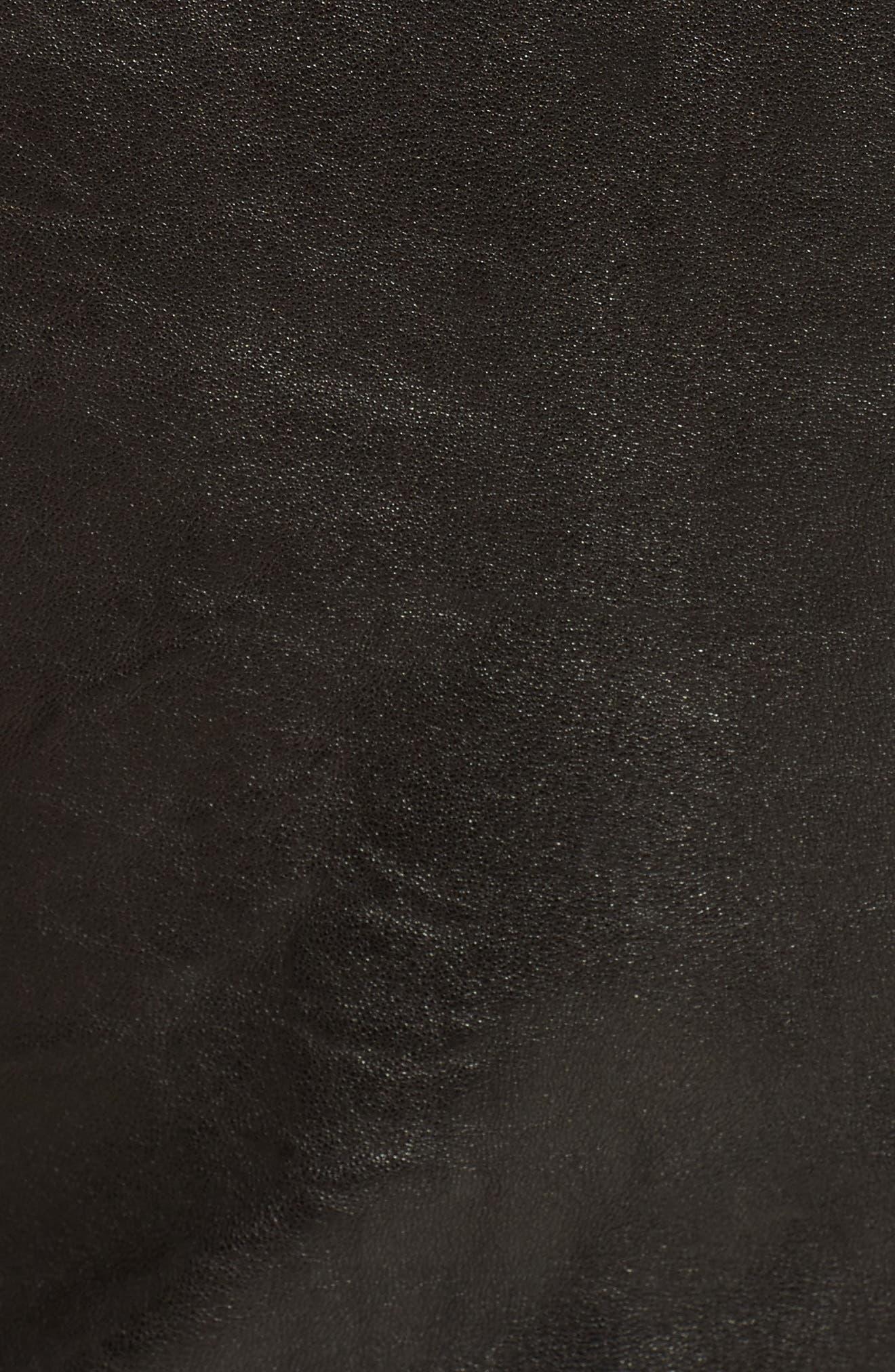 Jamie Leather Moto Jacket,                             Alternate thumbnail 5, color,                             001