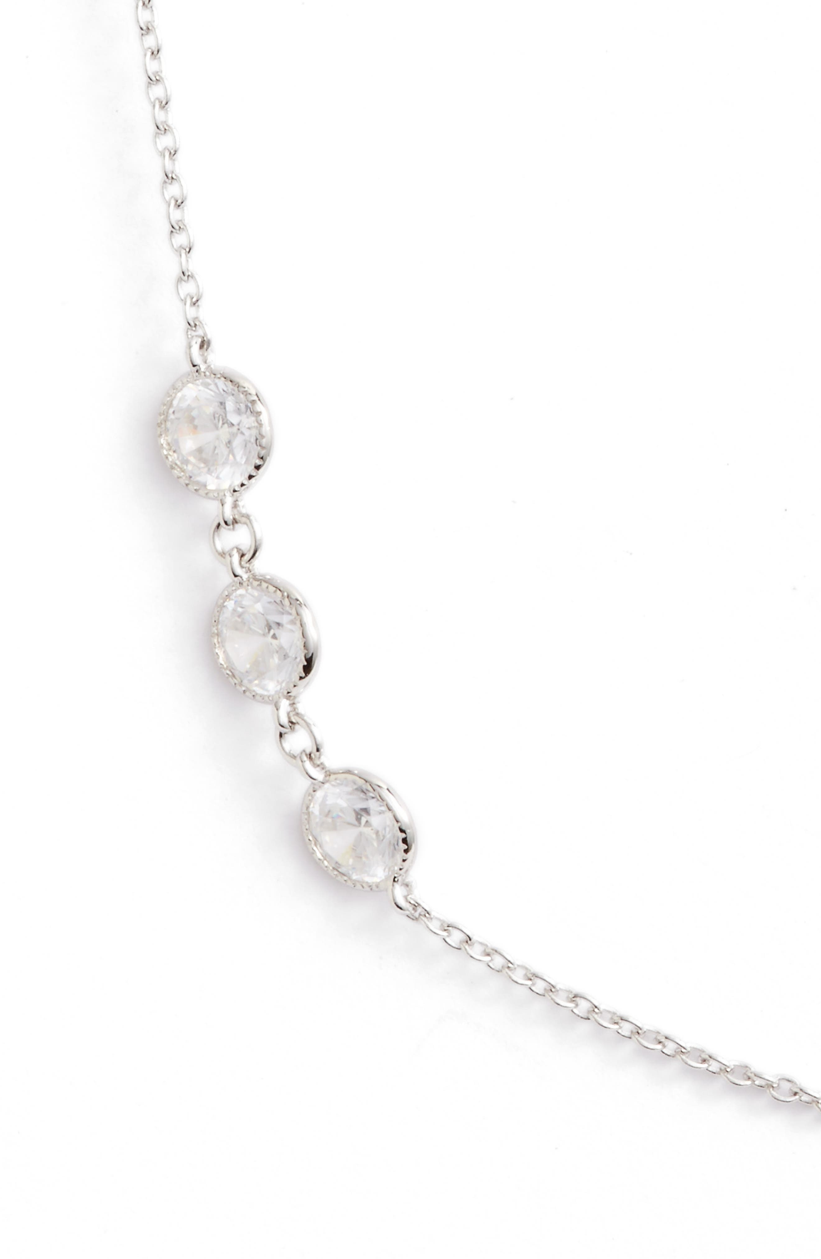 Long Simulated Diamond Station Necklace,                             Alternate thumbnail 2, color,                             SILVER