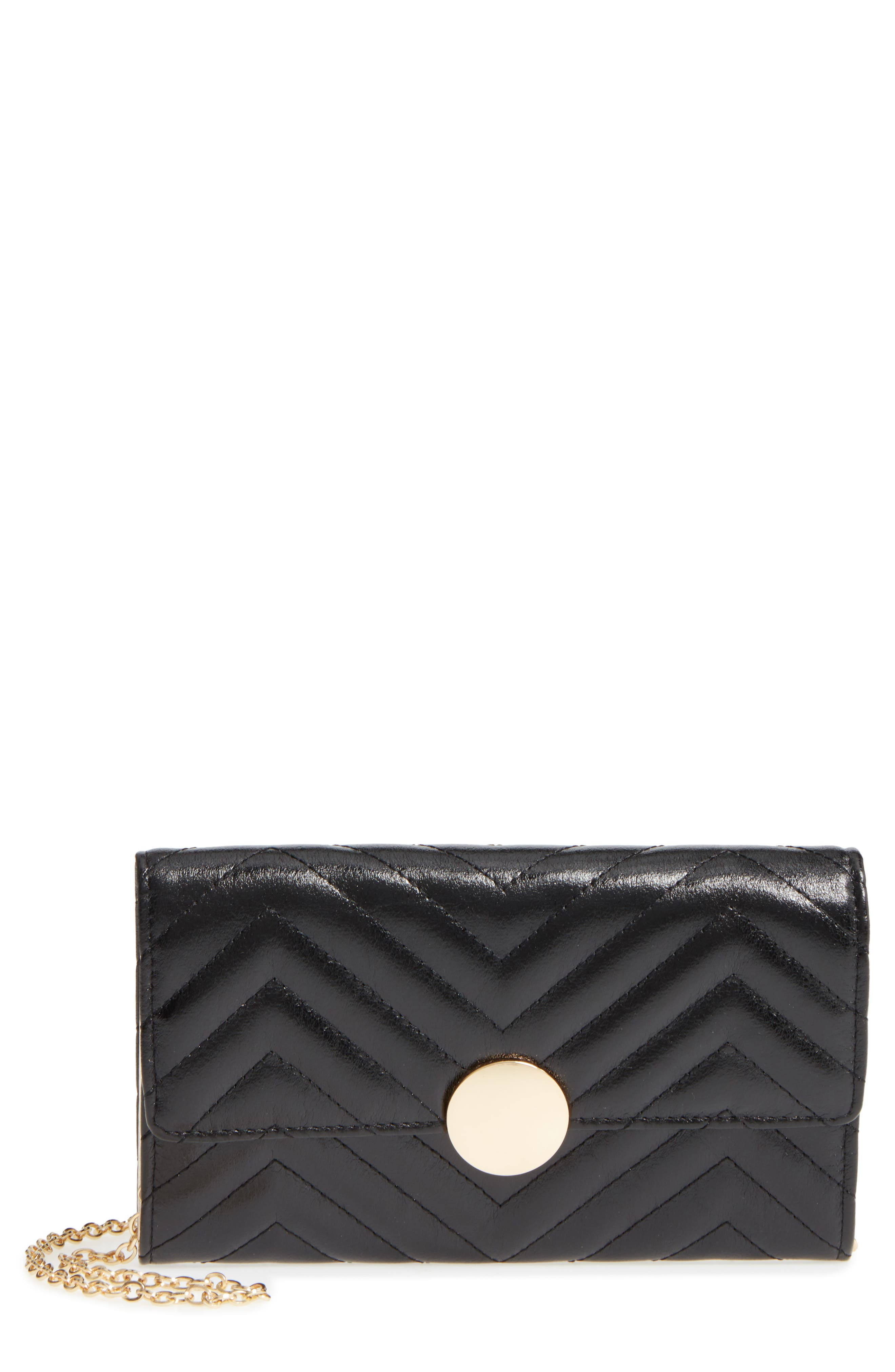 Quilted Faux Leather Wallet on a Chain,                             Main thumbnail 1, color,                             001