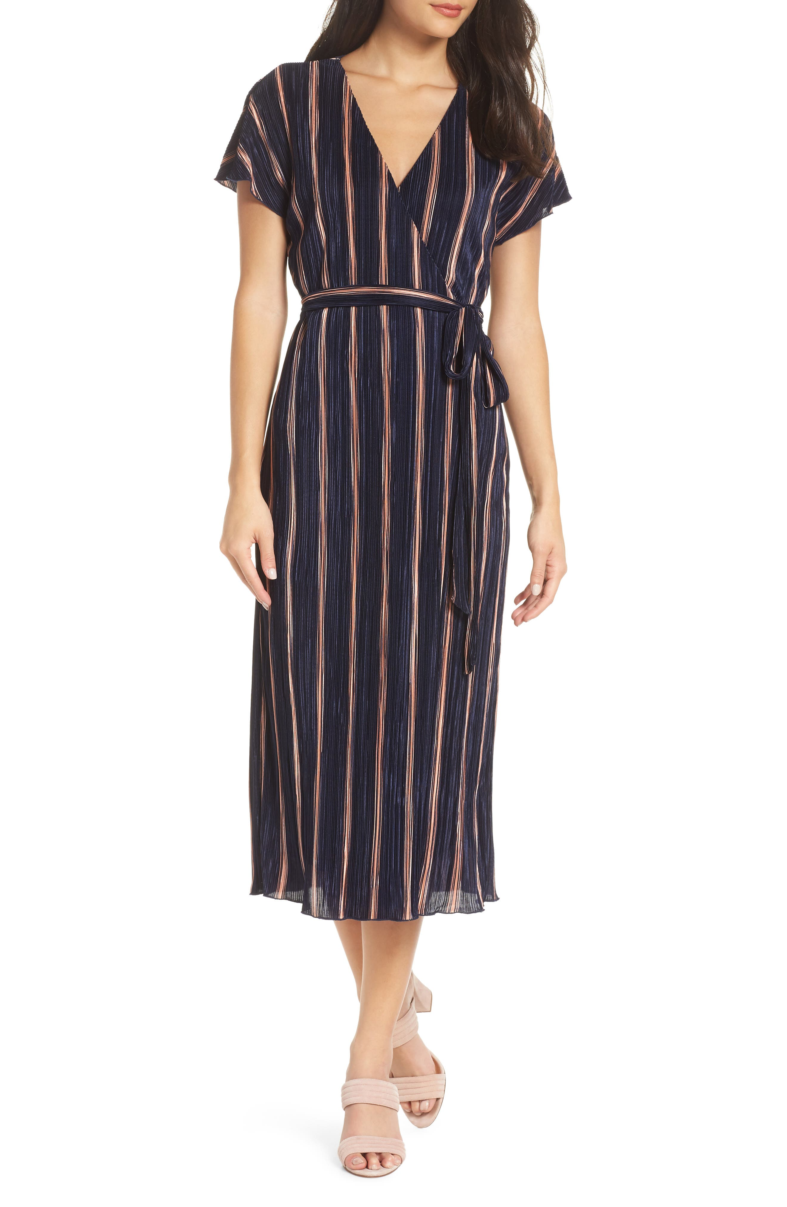 Charles Henry Wrap Midi Dress, Blue