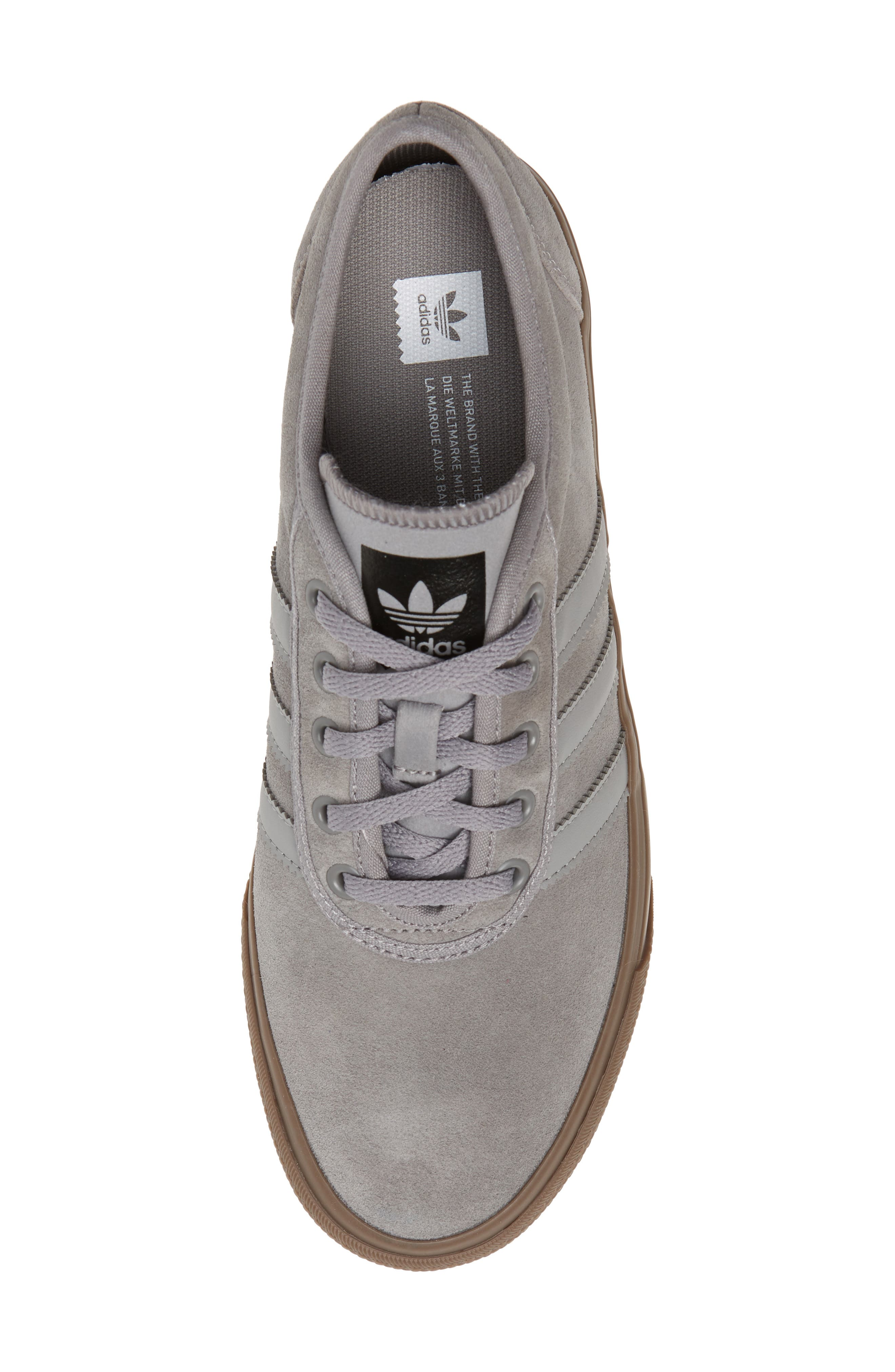 Adiease Skate Sneaker,                             Alternate thumbnail 5, color,                             SOLID GREY/ SOLID GREY/ GUM