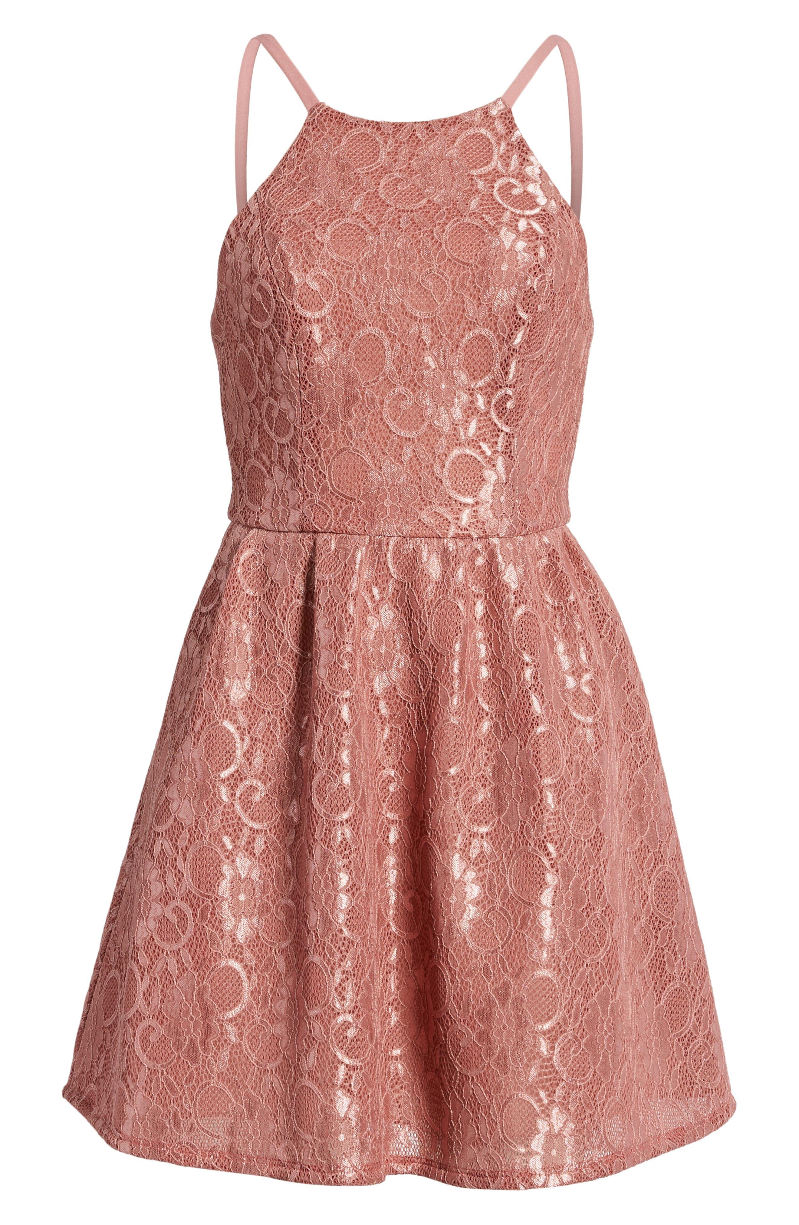 Lace Halter Low Back Party Dress,                             Alternate thumbnail 7, color,                             NEW MAUVE