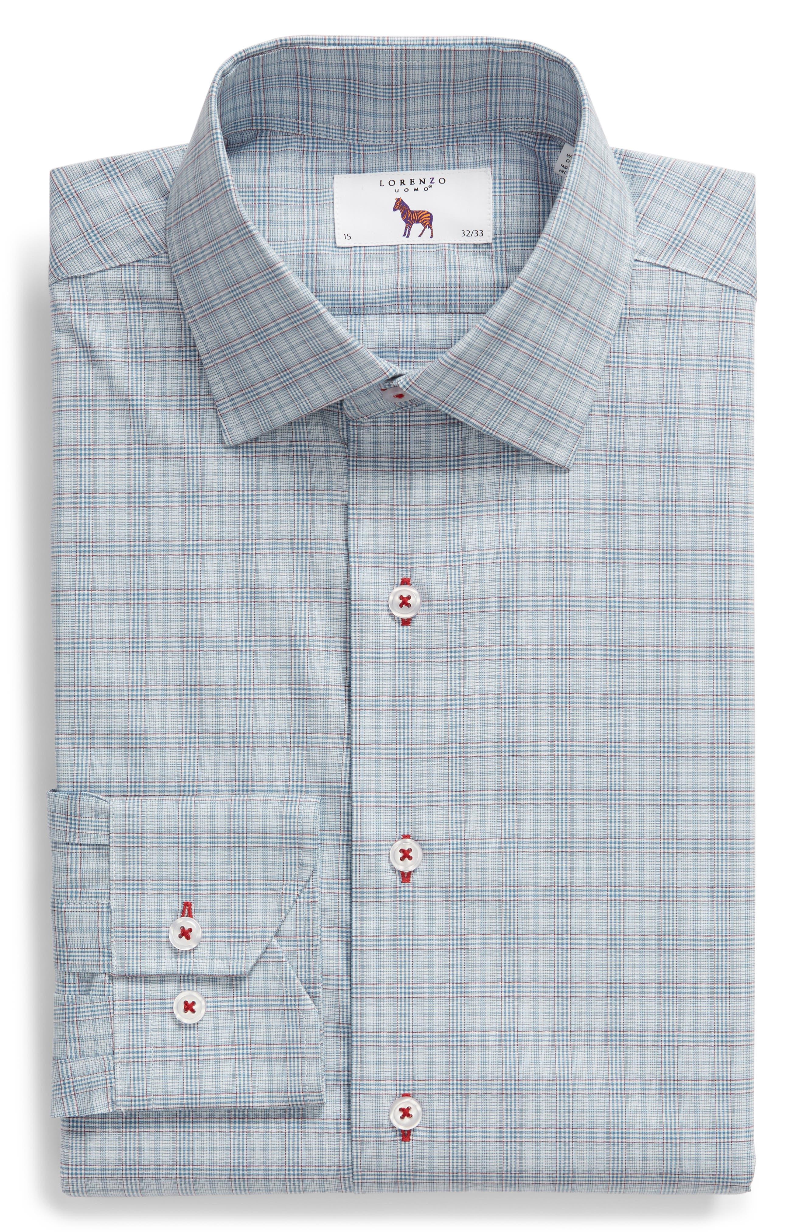 Trim Fit Plaid Dress Shirt,                             Alternate thumbnail 5, color,                             BLUE/ RED