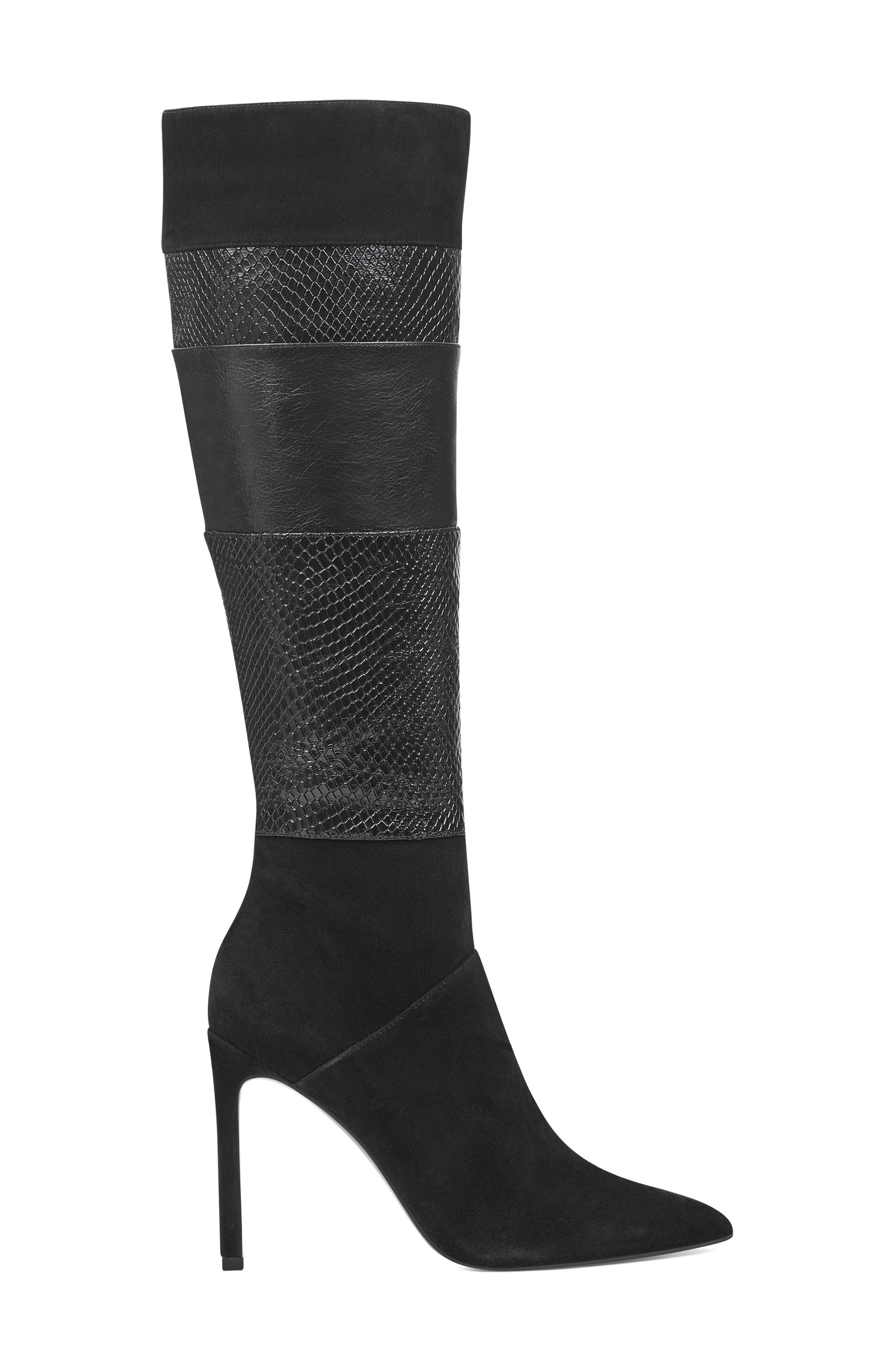 Toprank Blocked Knee High Boot,                             Alternate thumbnail 3, color,                             BLACK SUEDE