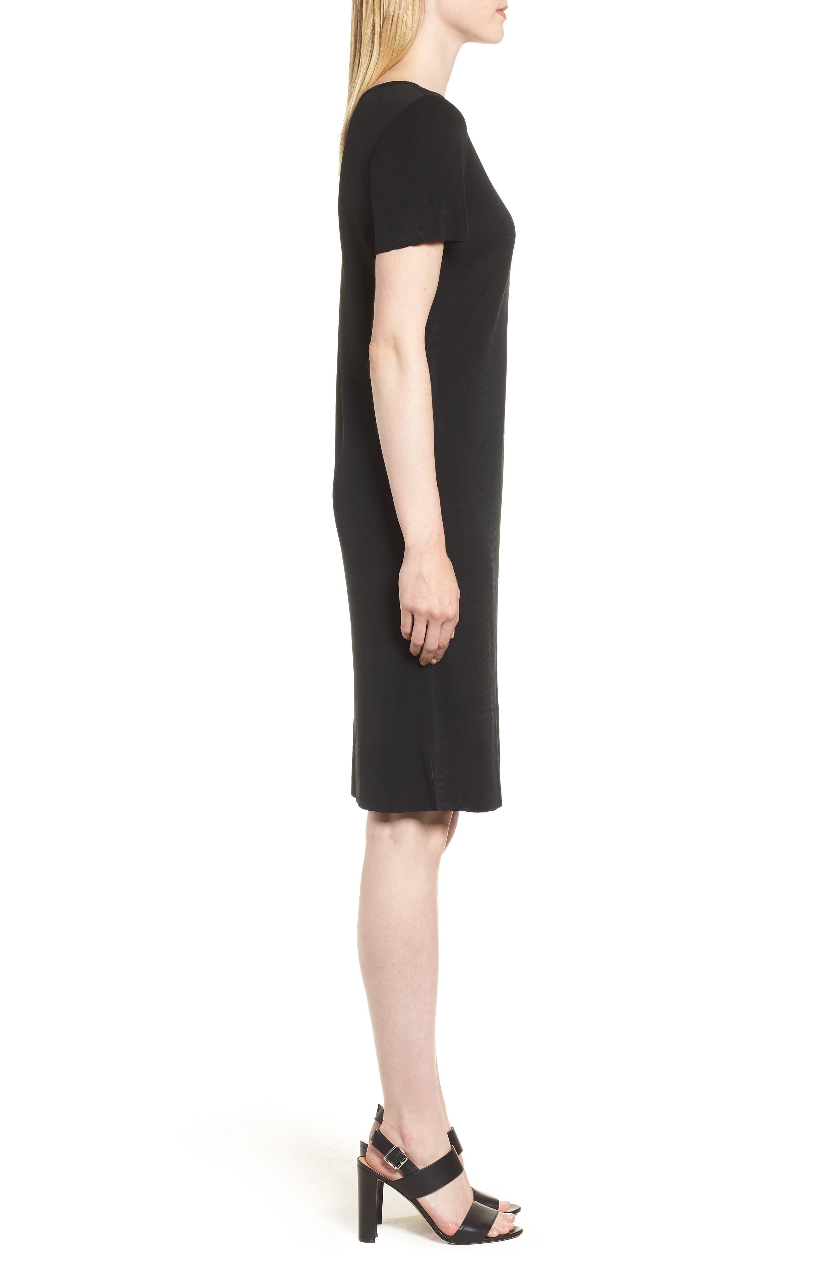 Short Sleeve Dress,                             Alternate thumbnail 4, color,                             BLACK