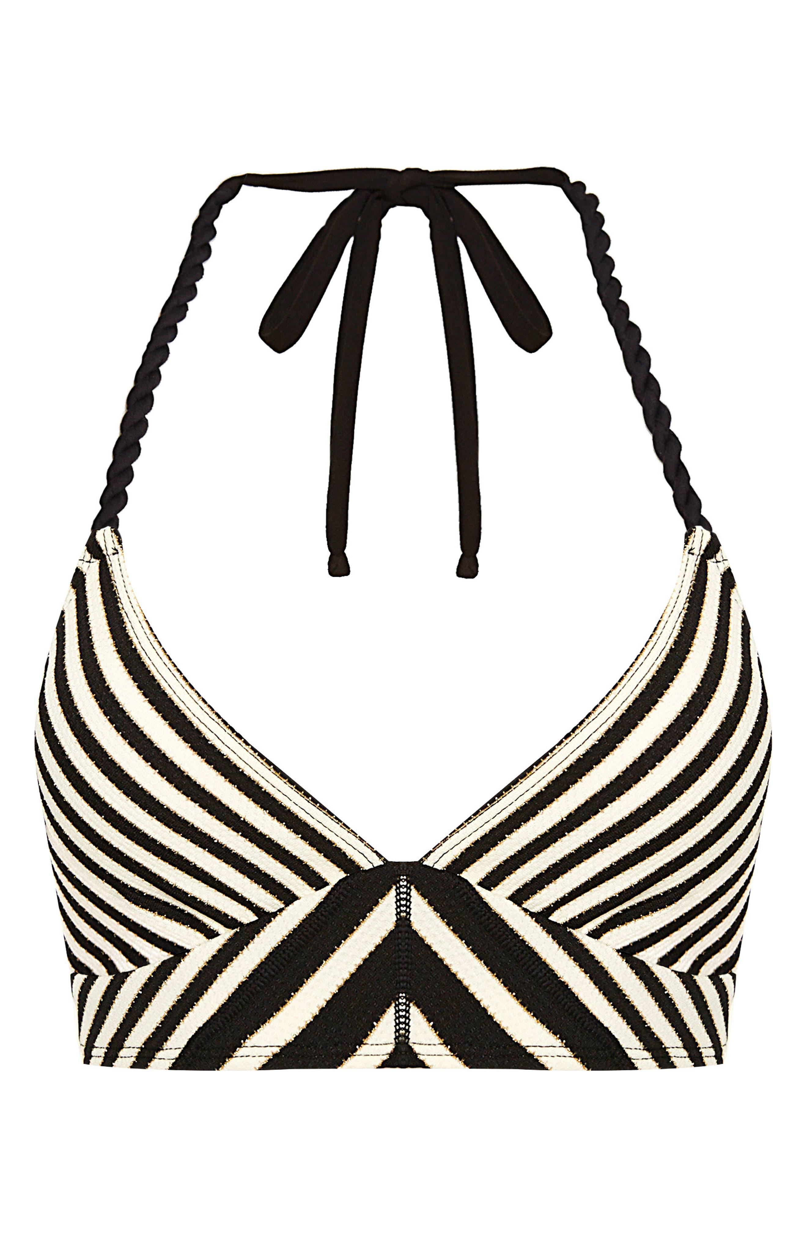Carmen Stripe Halter Bikini Top,                             Alternate thumbnail 6, color,                             001