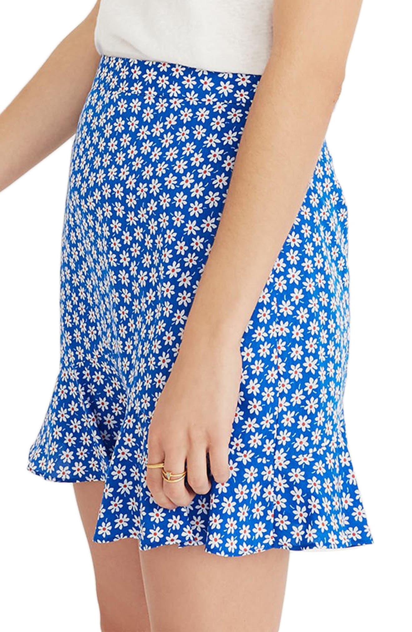 Daisy Print Ruffle Miniskirt,                             Alternate thumbnail 3, color,                             BRILLIANT ROYAL