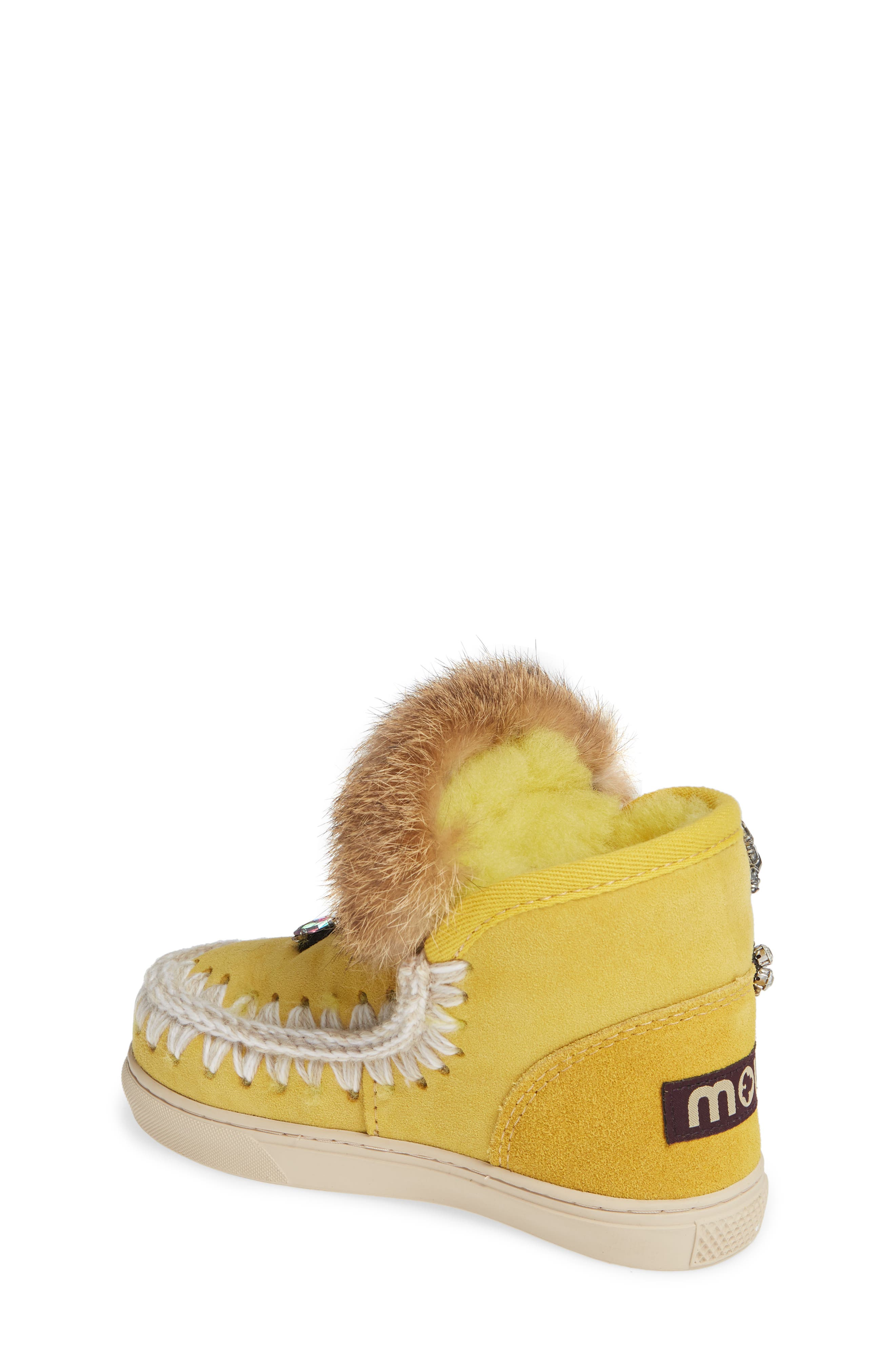 Embellished Genuine Shearling Sneaker Boot,                             Alternate thumbnail 2, color,                             OLIVE YELLOW