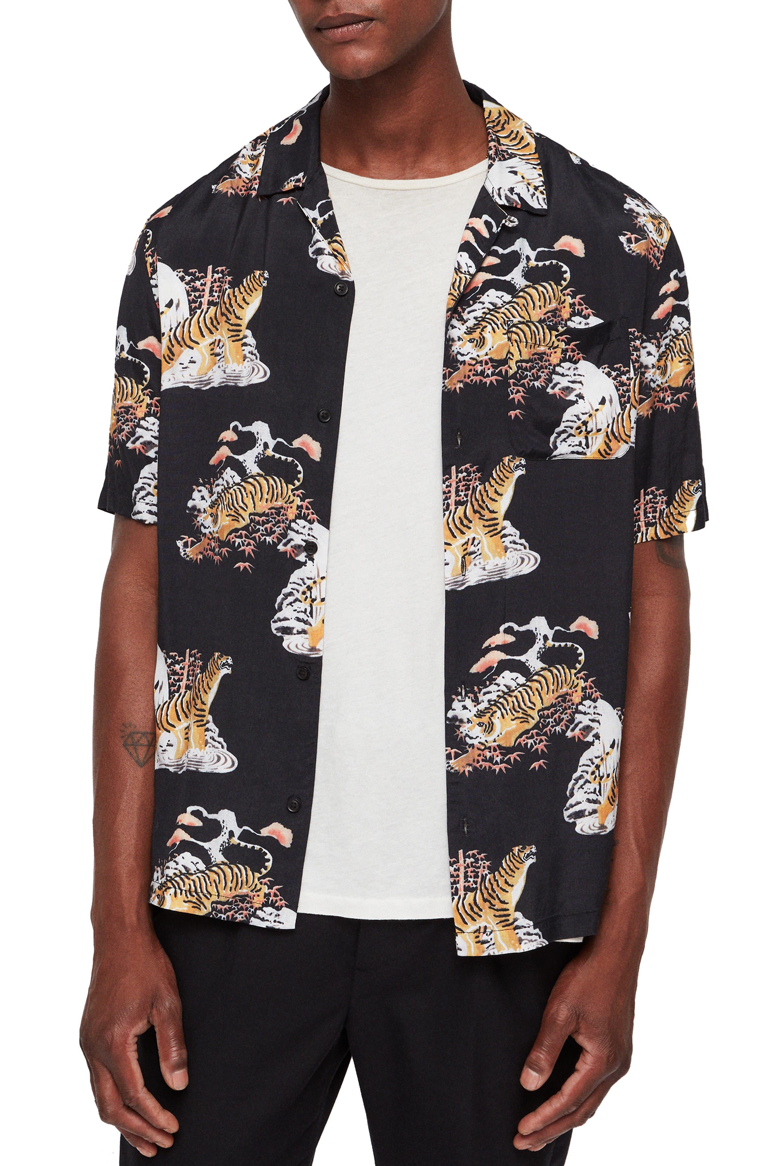 Kirshma Slim Fit Print Shirt,                         Main,                         color, BLACK