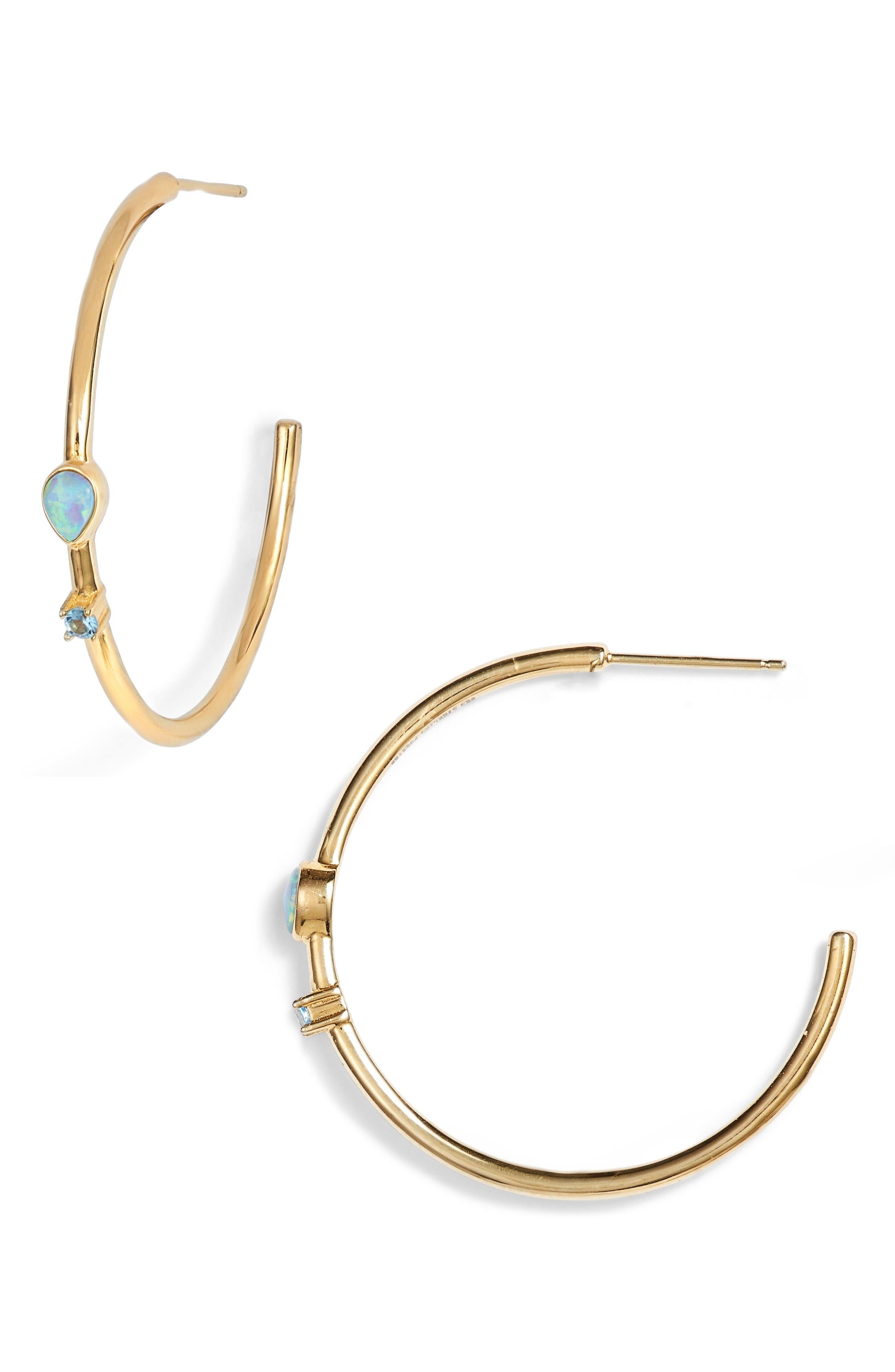 STERLING FOREVER Eyes Ablaze Hoop Earrings, Main, color, GOLD