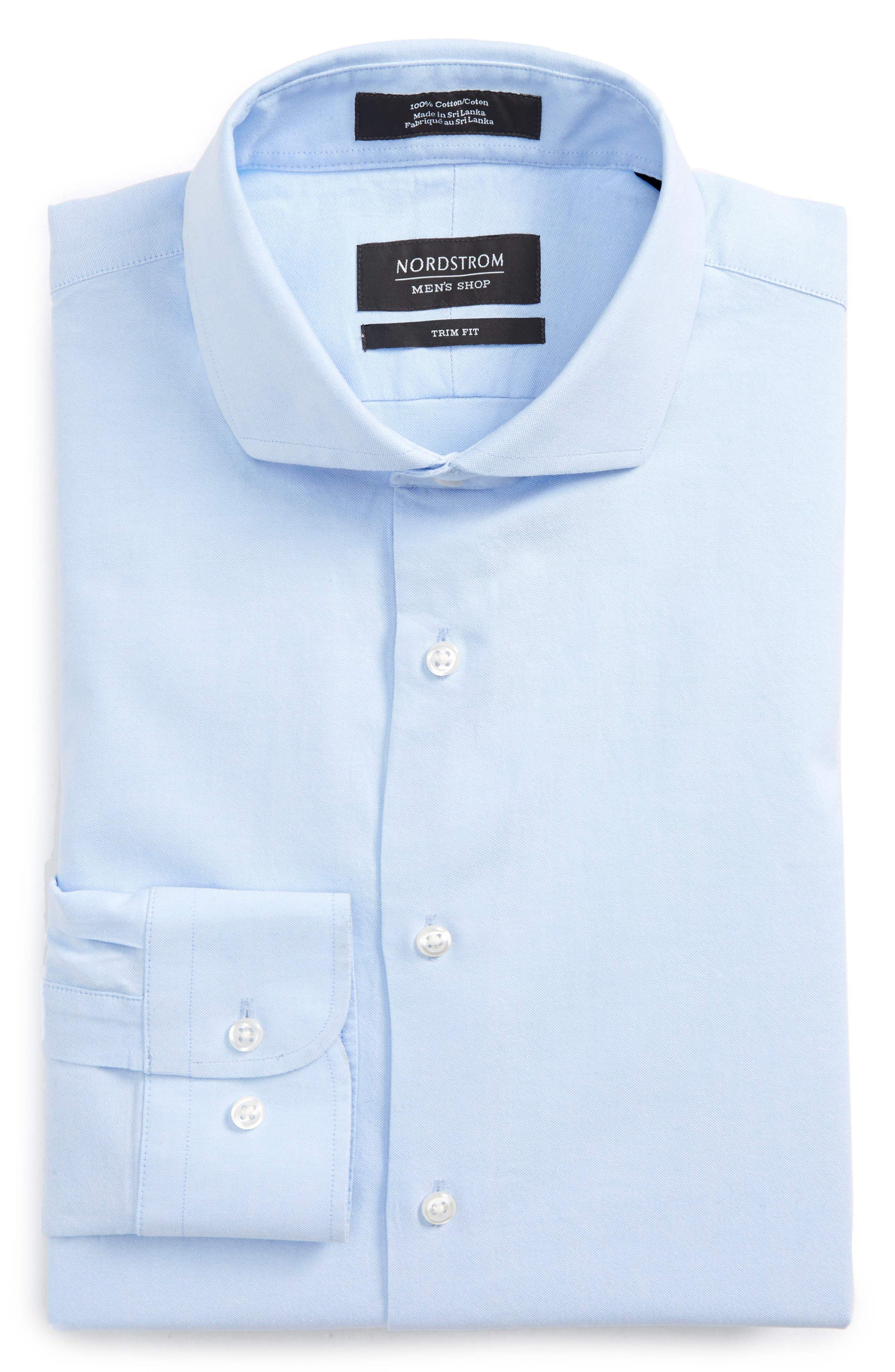 Trim Fit Solid Dress Shirt,                             Alternate thumbnail 14, color,