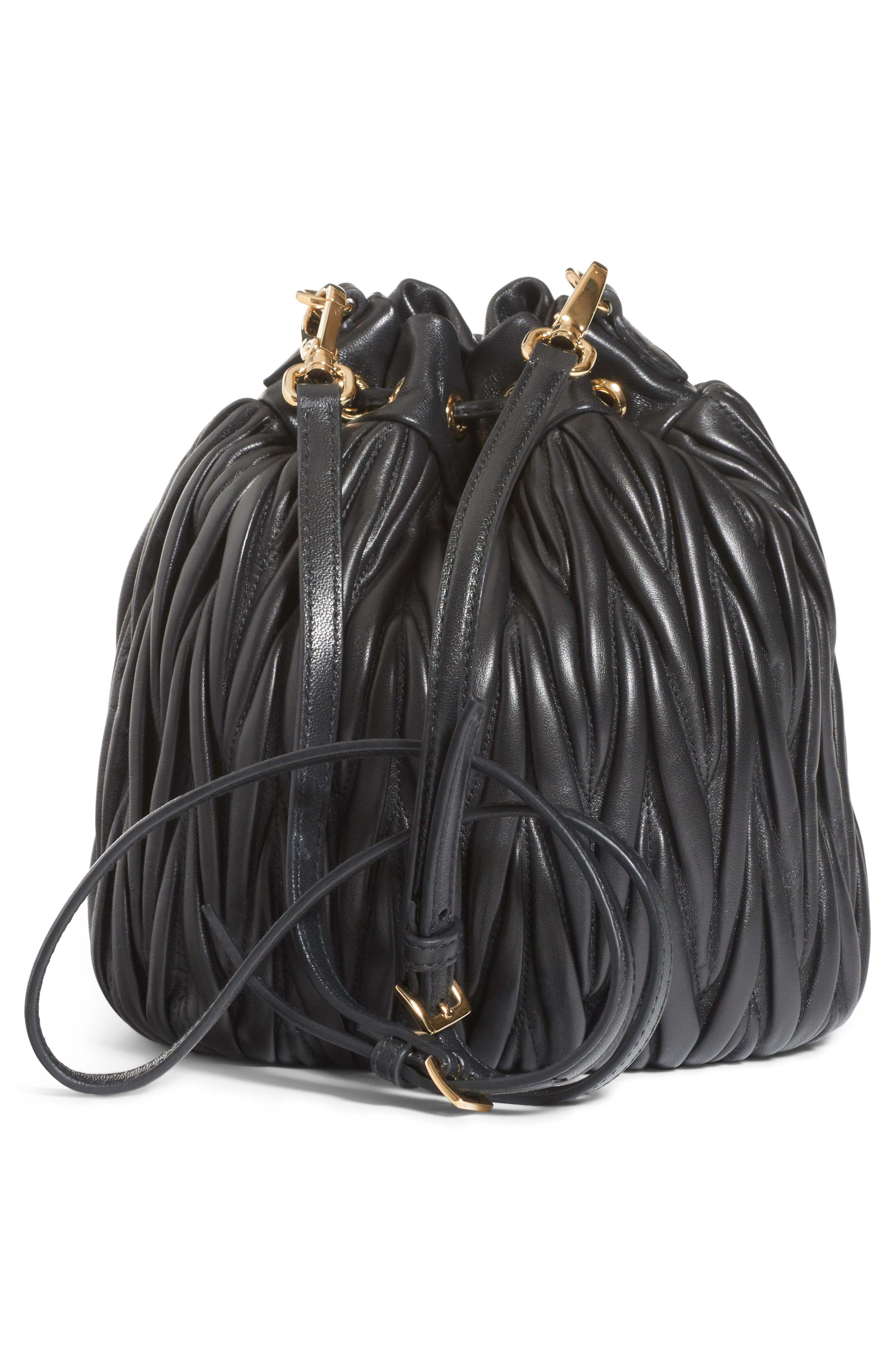 Small Matelassé Leather Bucket Bag,                             Alternate thumbnail 3, color,                             NERO