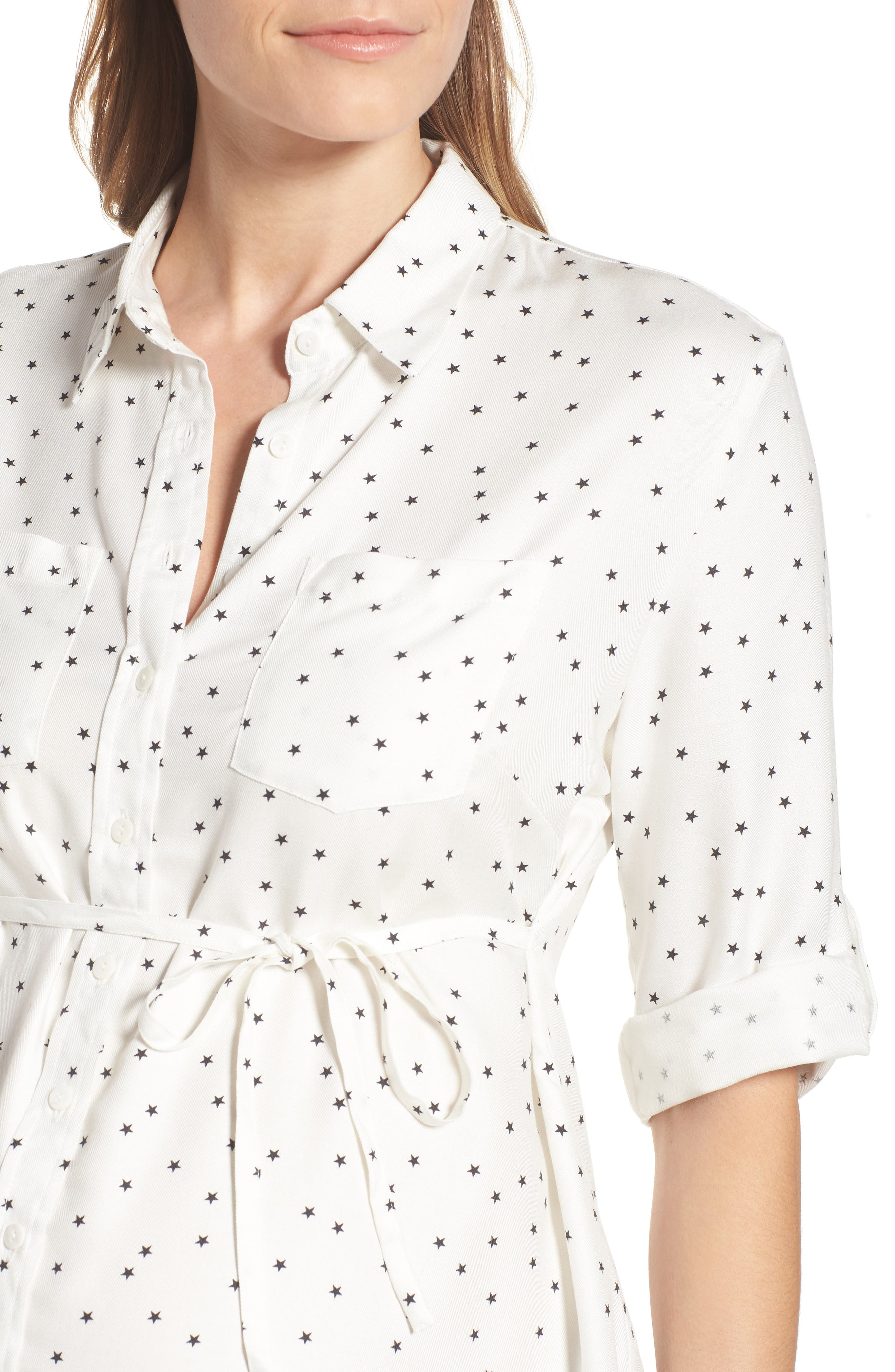 Selina Maternity Shirt,                             Alternate thumbnail 4, color,                             OFF WHITE STAR PRINT