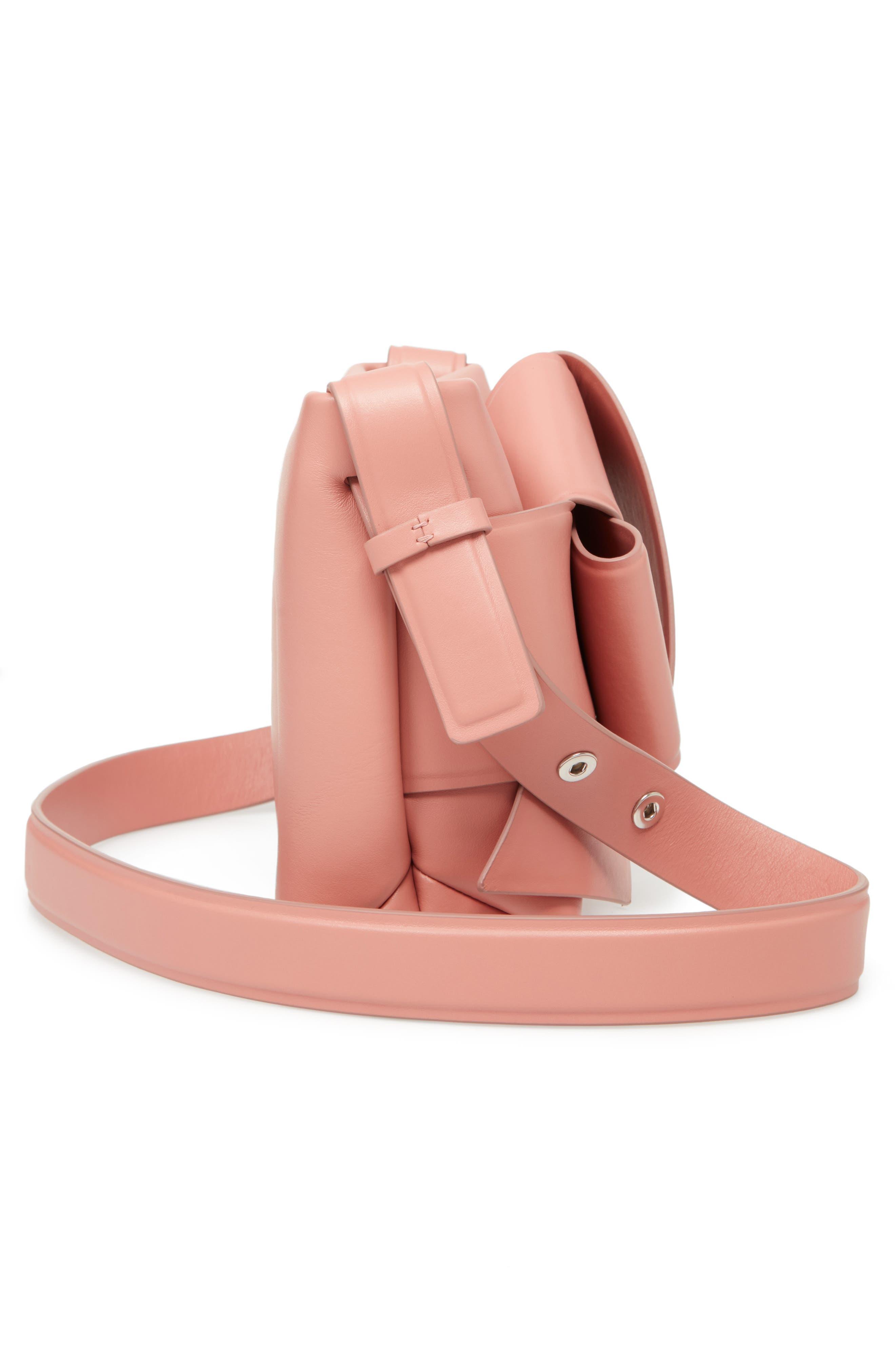 Musubi Knot Leather Handbag,                             Alternate thumbnail 5, color,                             PINK