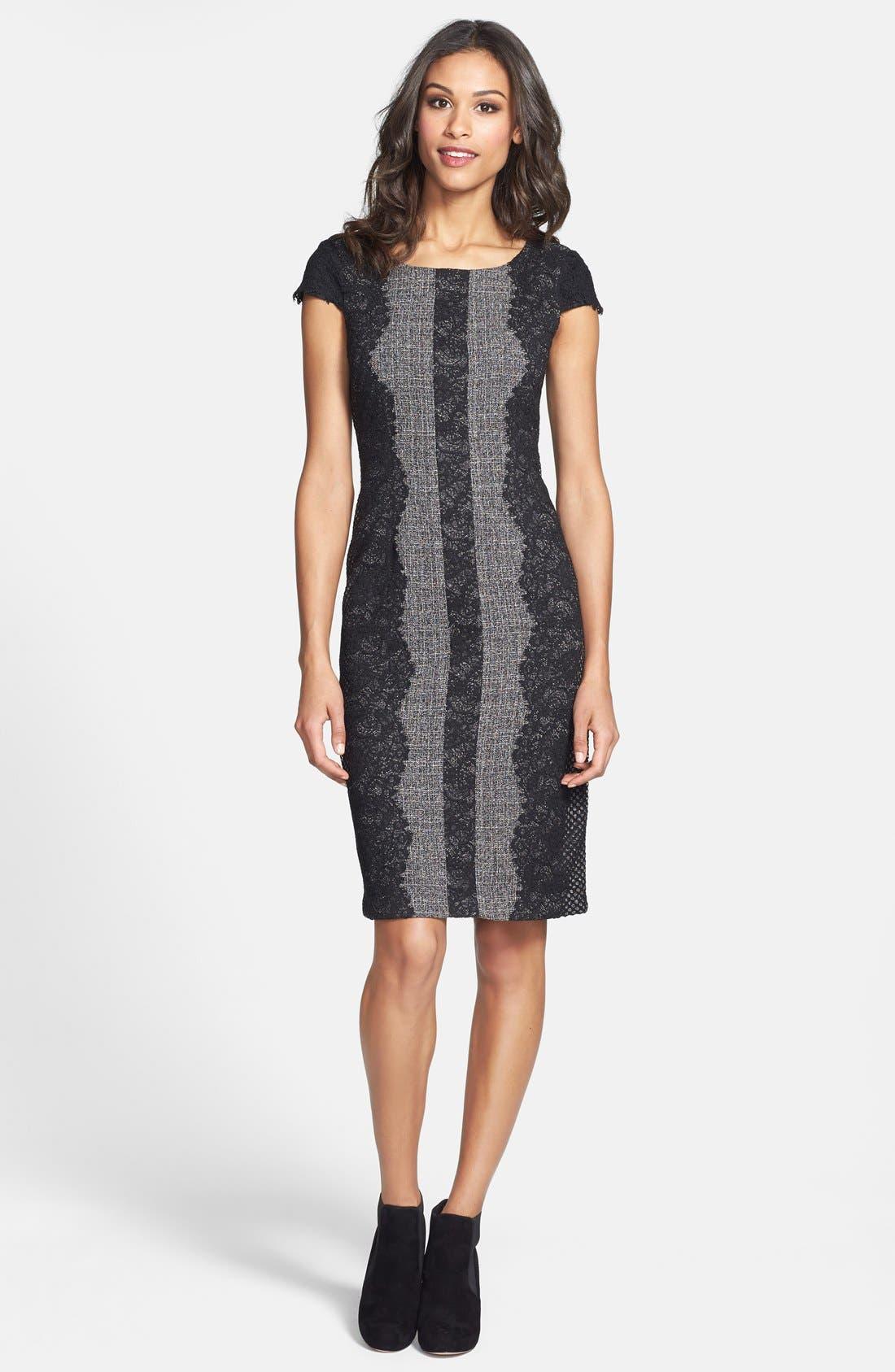 Lace Trim Tweed Sheath Dress,                             Alternate thumbnail 2, color,                             020