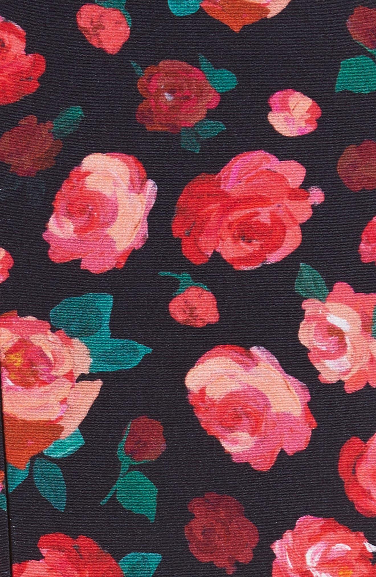 Floral Print Fit & Flare Dress,                             Alternate thumbnail 5, color,                             621