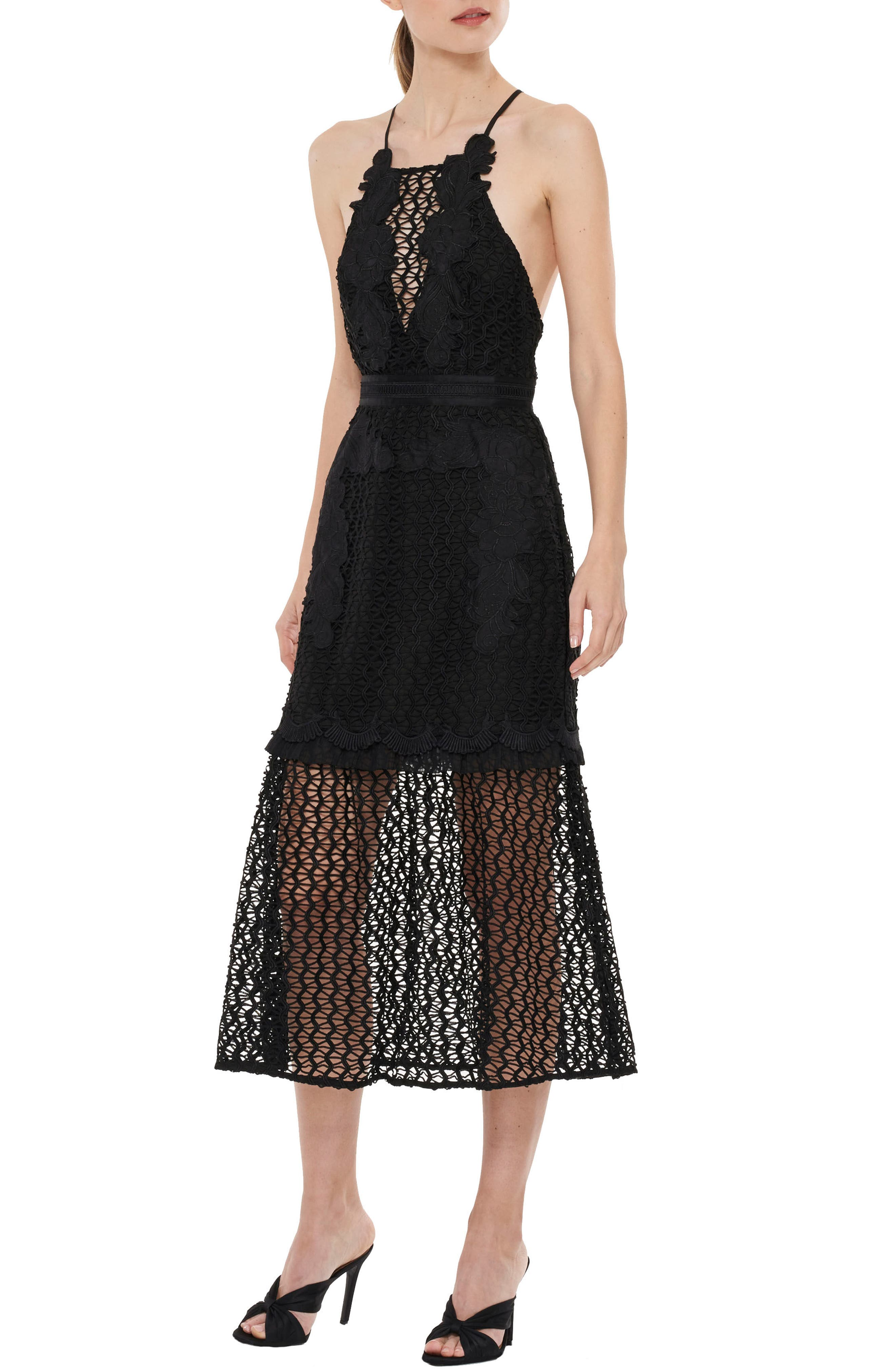 Sweet Dreams Crochet A-Line Dress,                             Alternate thumbnail 3, color,                             001