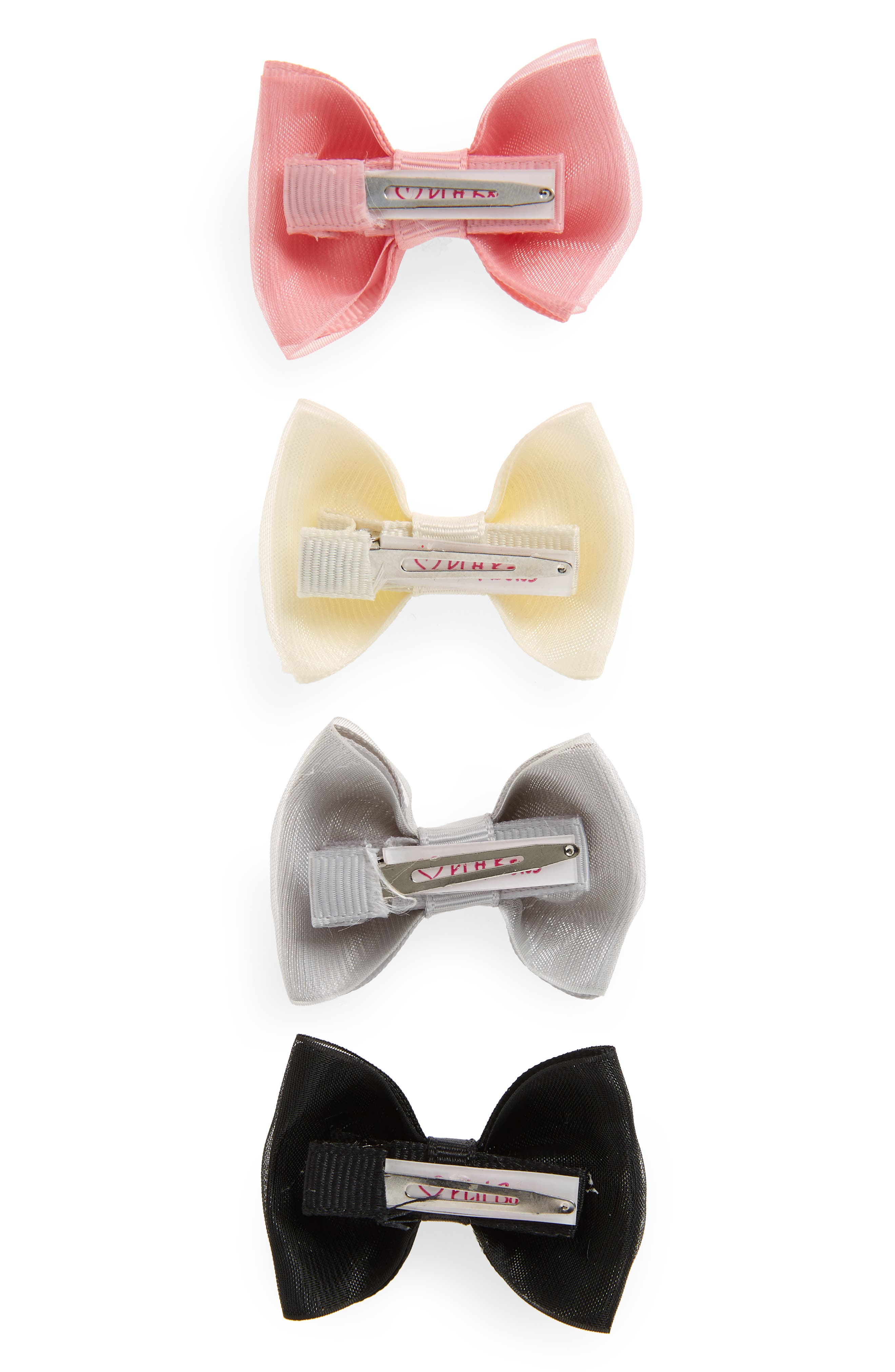 4-Pack Organza Bow Clips,                             Alternate thumbnail 3, color,                             PEONY