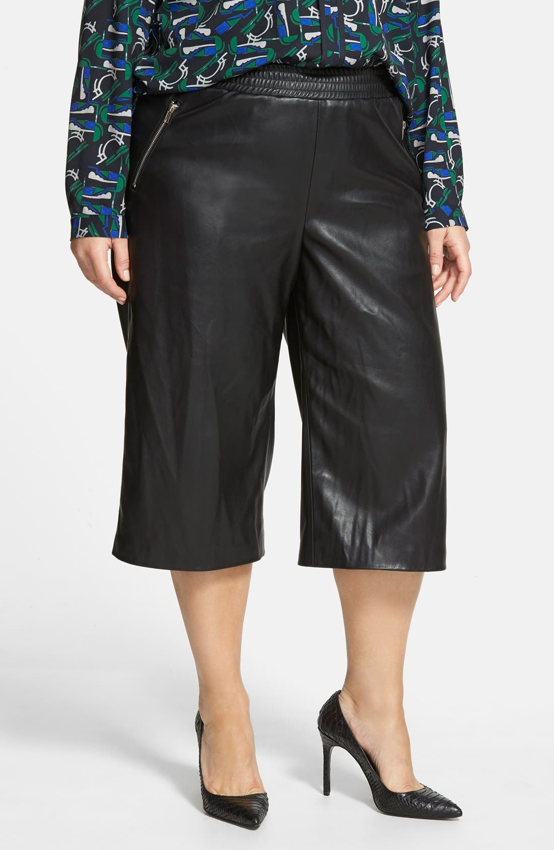 ELOQUII Studio Faux Leather Culottes, Main, color, 001