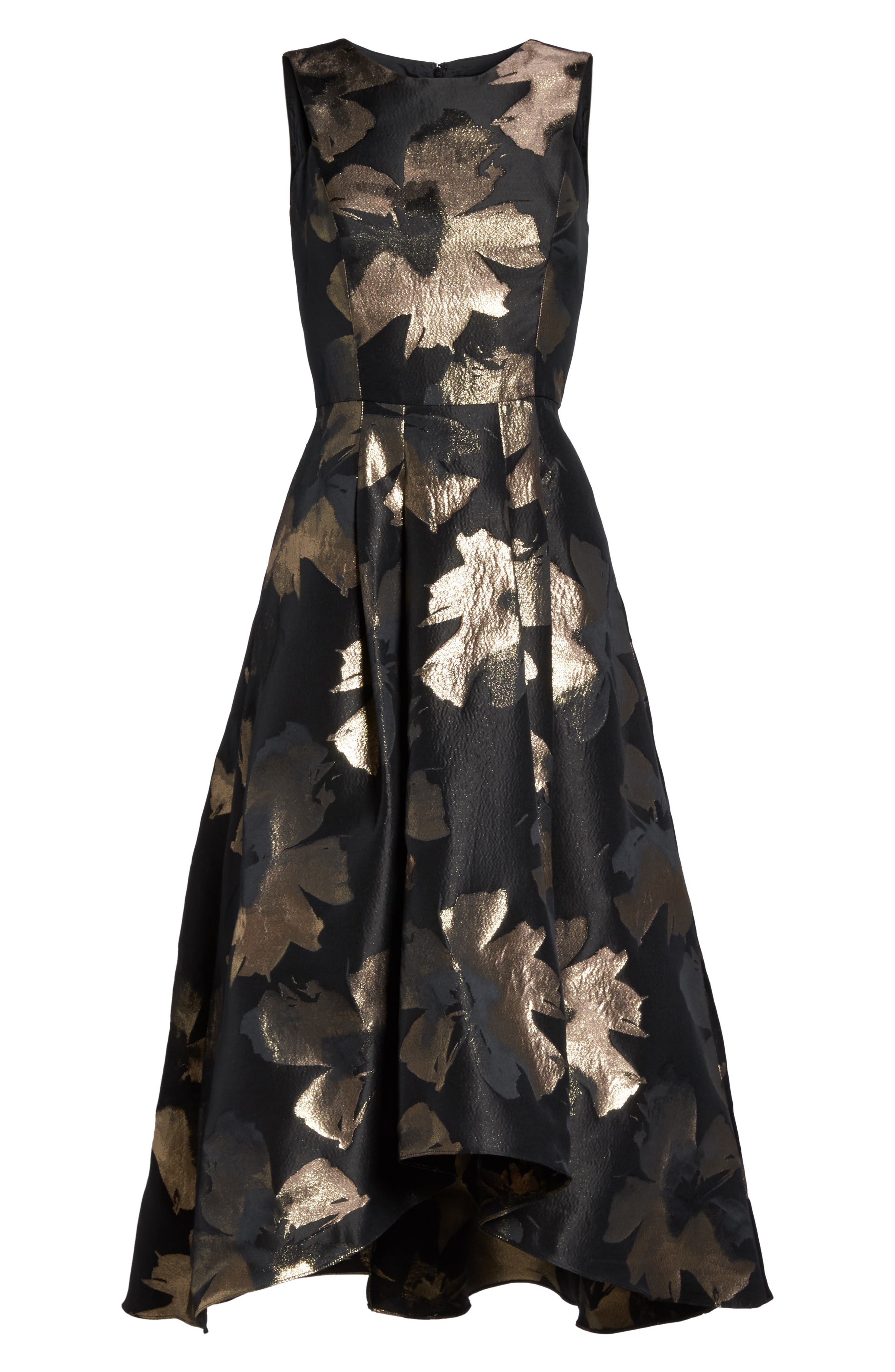 Coraline Brocade High/Low Gown,                             Alternate thumbnail 6, color,                             009