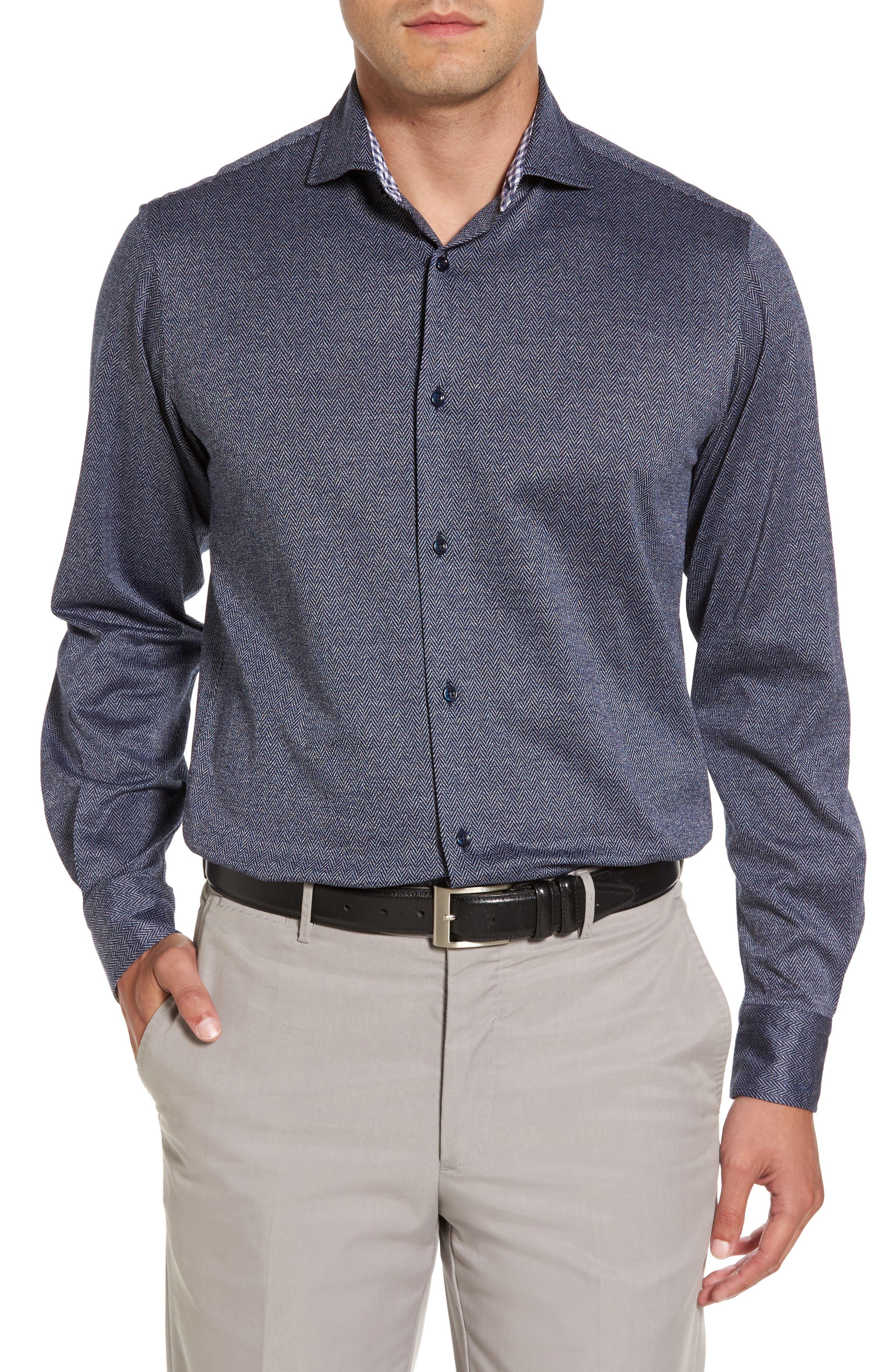 Paul&Shark Herringbone Sport Shirt,                         Main,                         color, 400