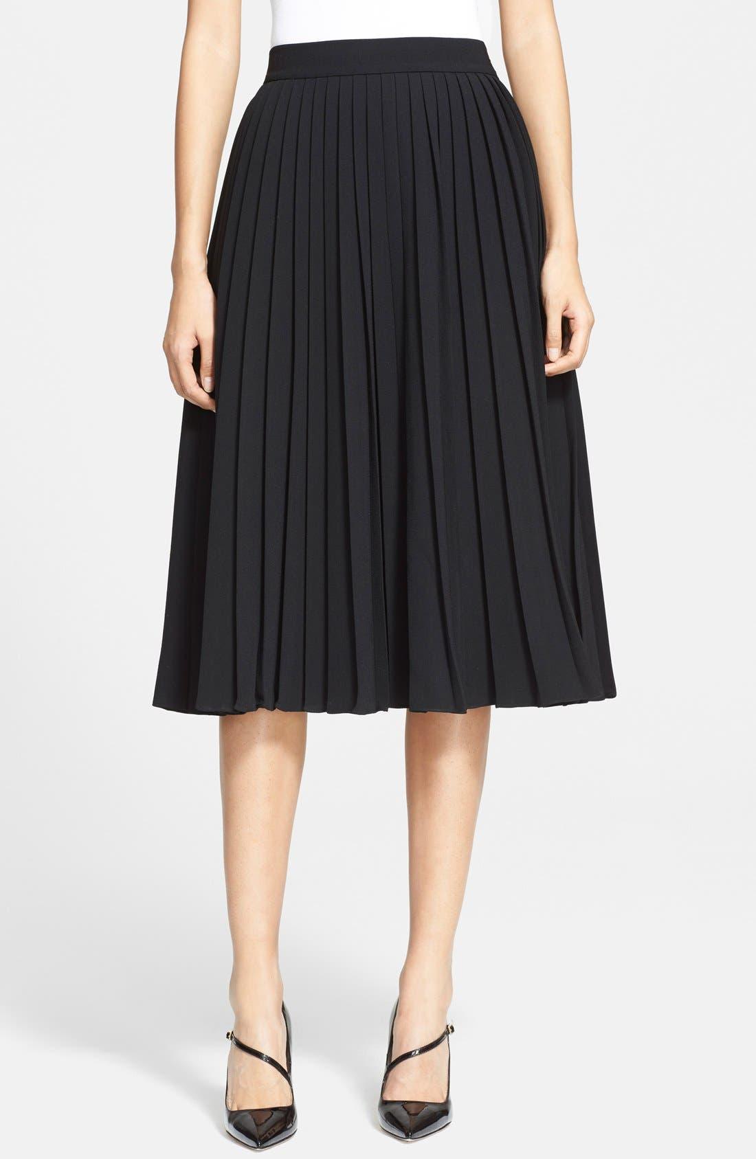 pleated crepe midi skirt,                         Main,                         color,