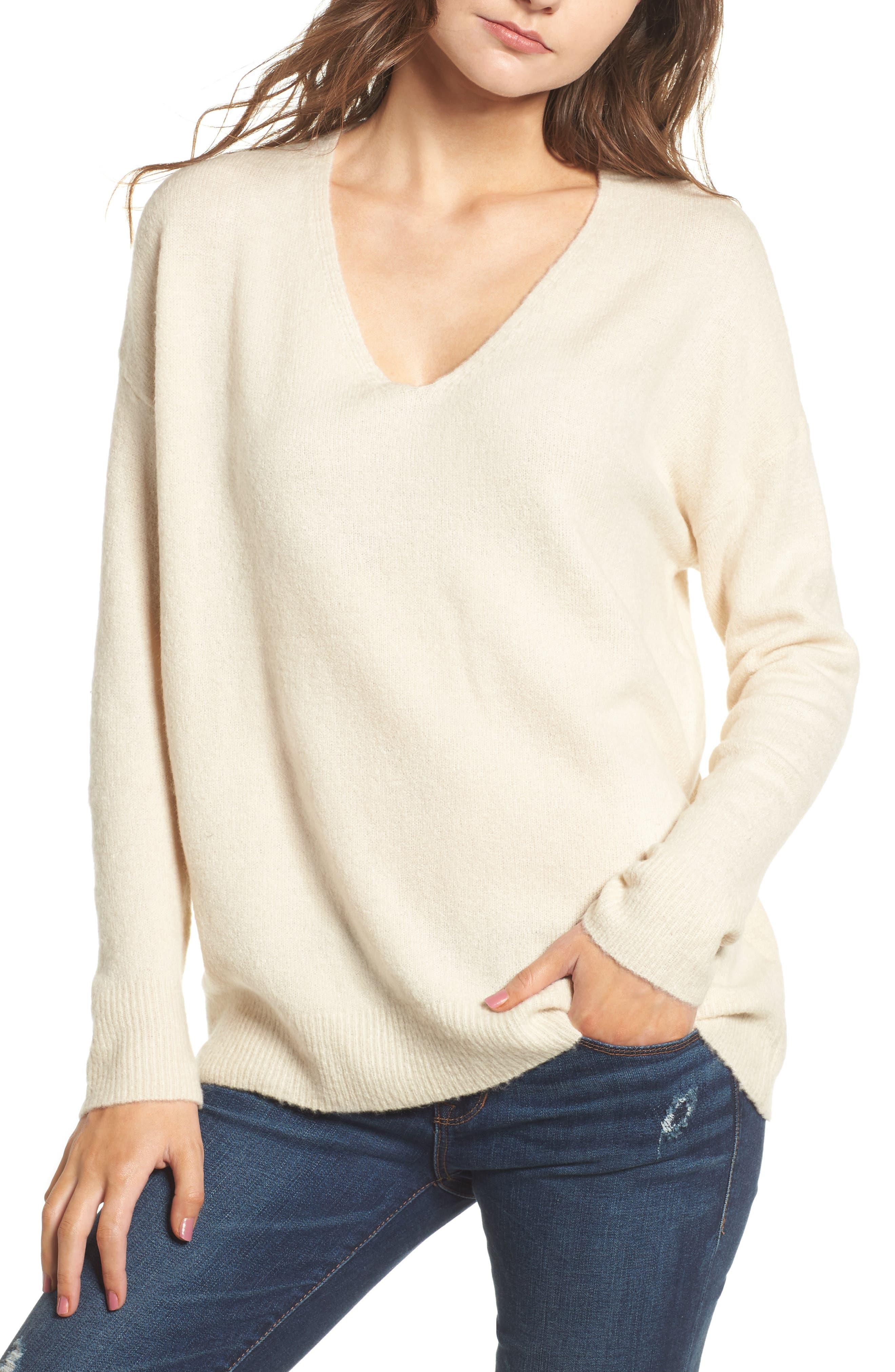 V-Neck Sweater,                             Main thumbnail 2, color,