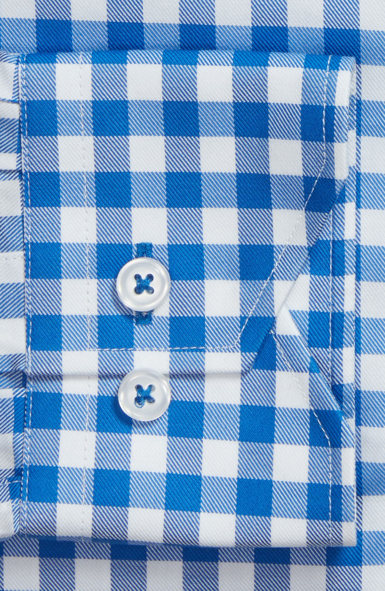 Trim Fit Gingham Dress Shirt,                             Alternate thumbnail 6, color,                             BLUE