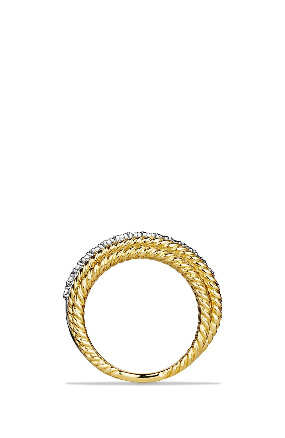 'DY Crossover' Ring with Diamonds in Gold,                             Alternate thumbnail 4, color,                             DIAMOND