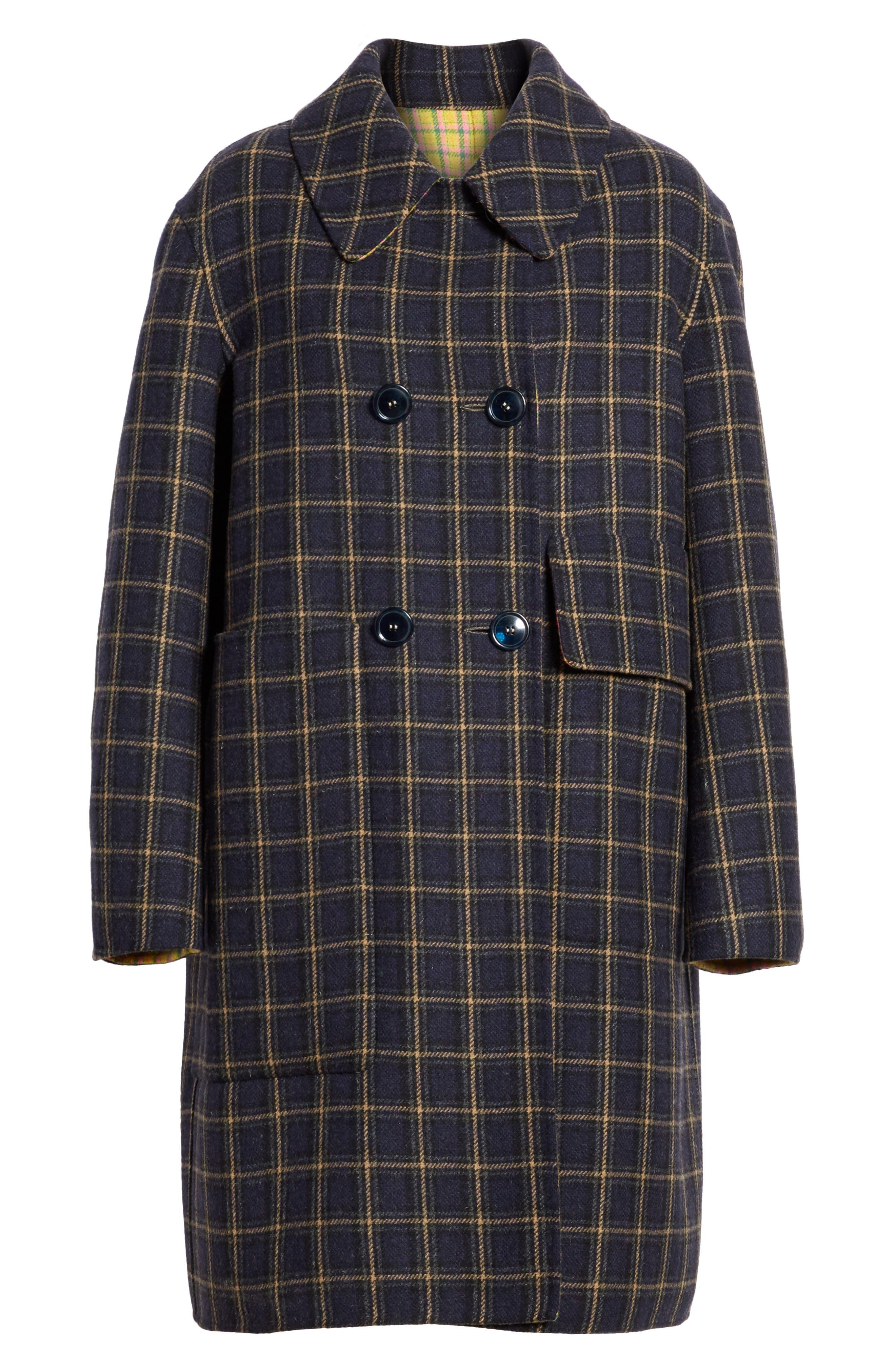 Plaid Wool Blend Car Coat,                             Alternate thumbnail 5, color,                             960