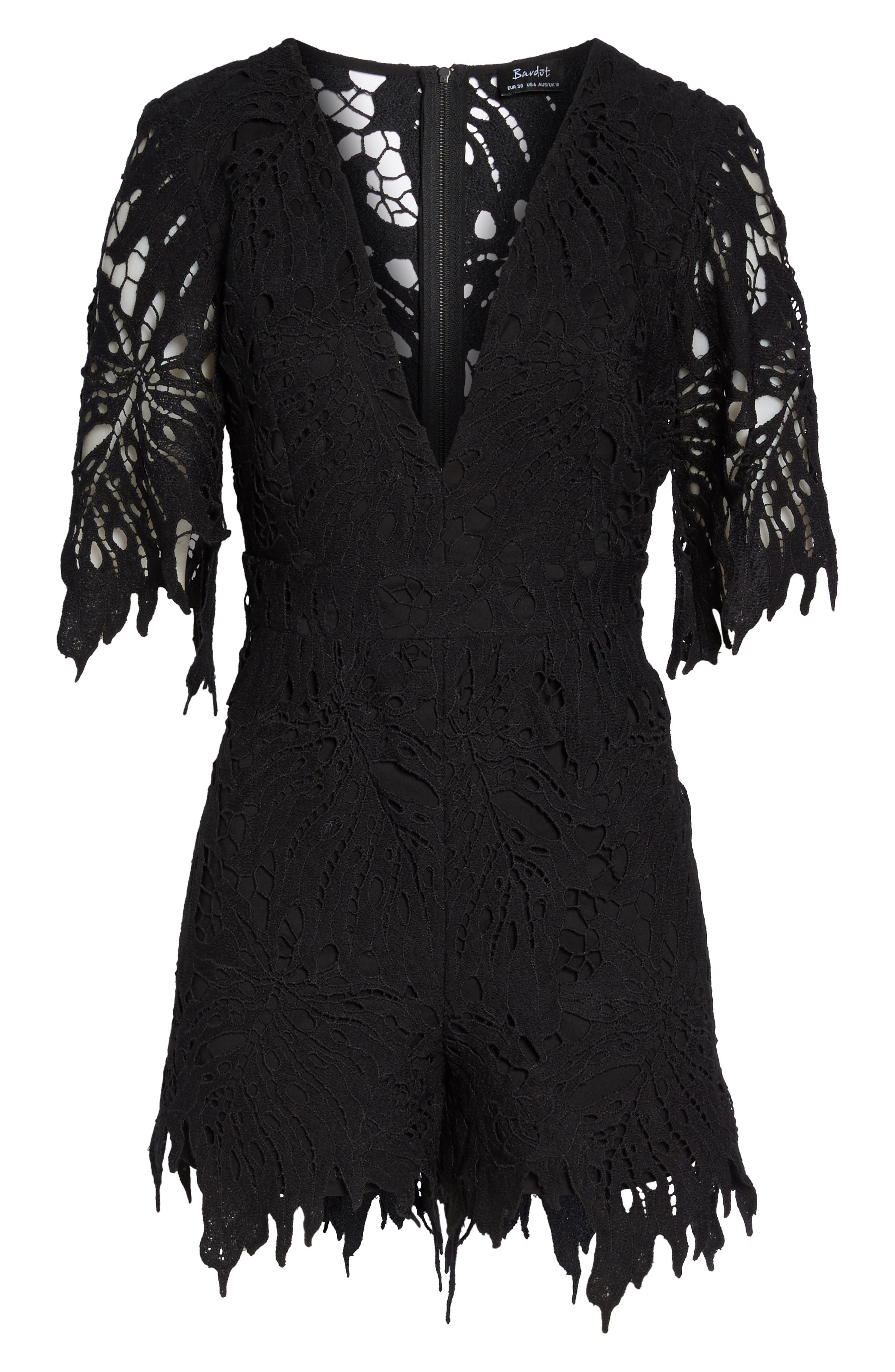 Amalfi Lace Romper,                             Alternate thumbnail 7, color,                             001