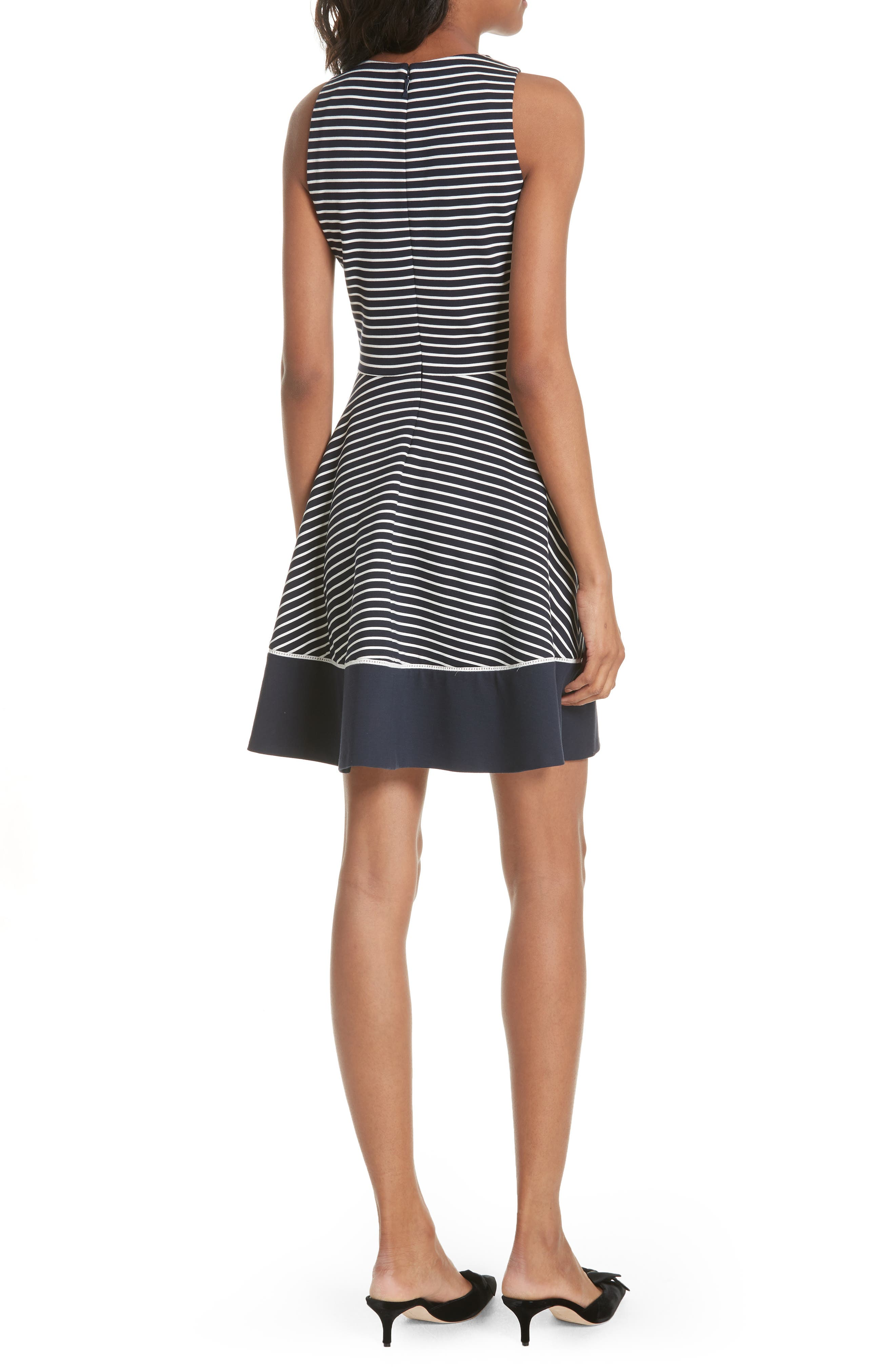 stripe ponte fit & flare dress,                             Alternate thumbnail 2, color,