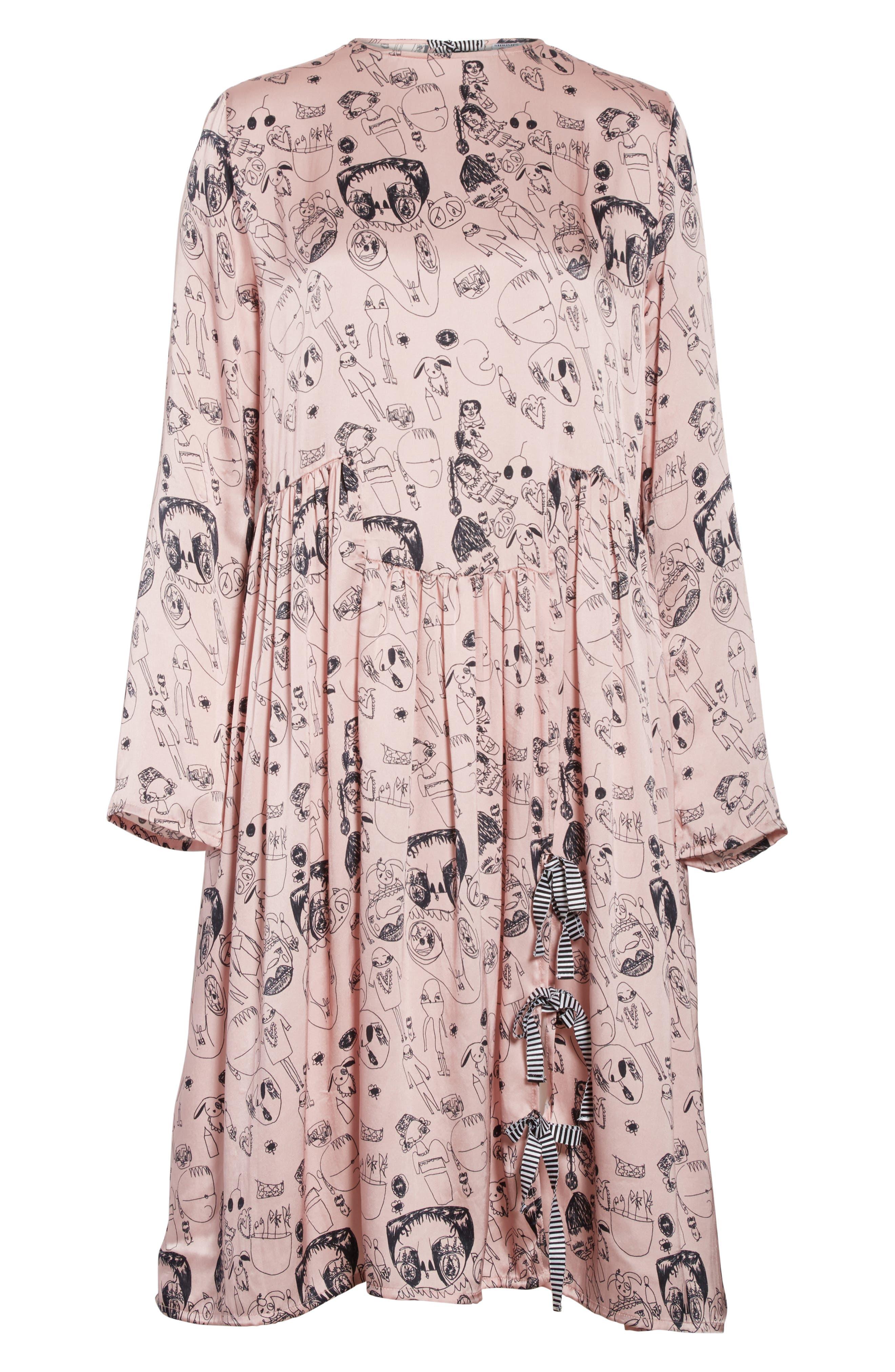 Heather Print Silk Dress,                             Alternate thumbnail 6, color,                             650