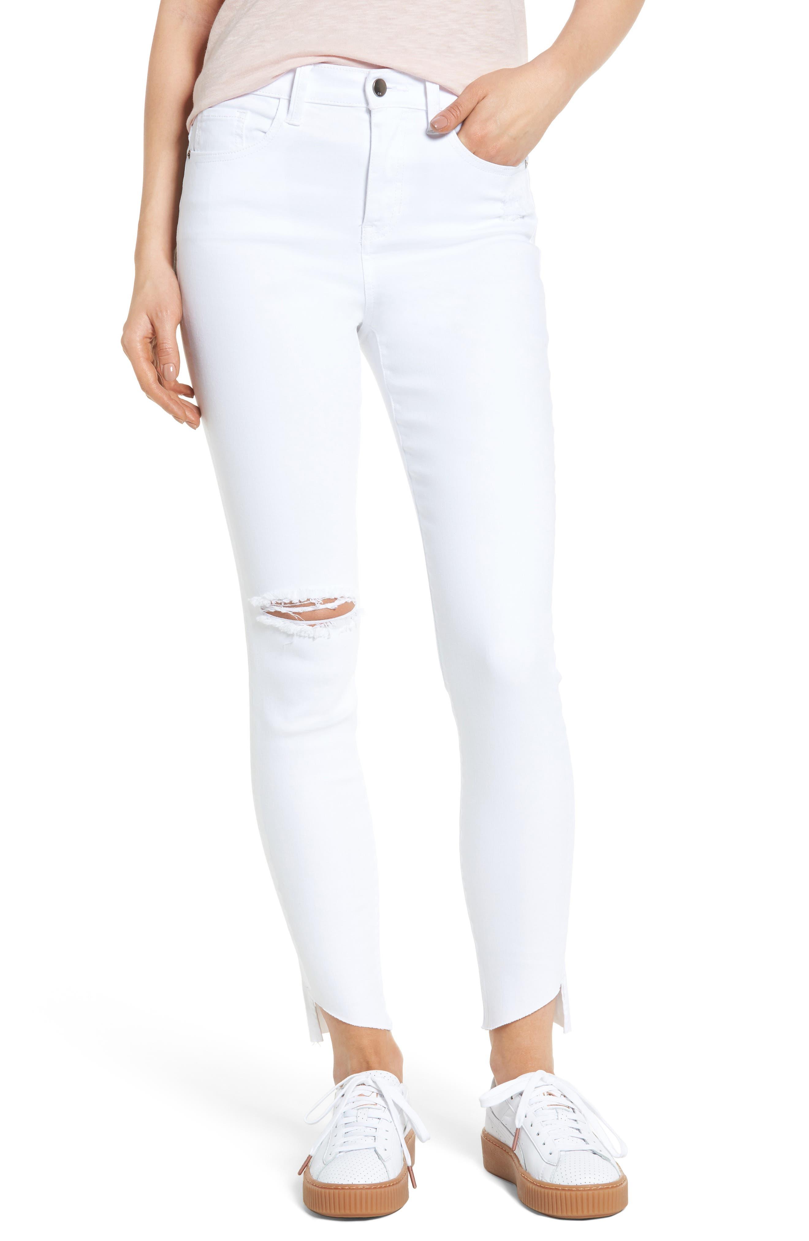 Angled Step Hem Skinny Jeans,                             Main thumbnail 1, color,                             100
