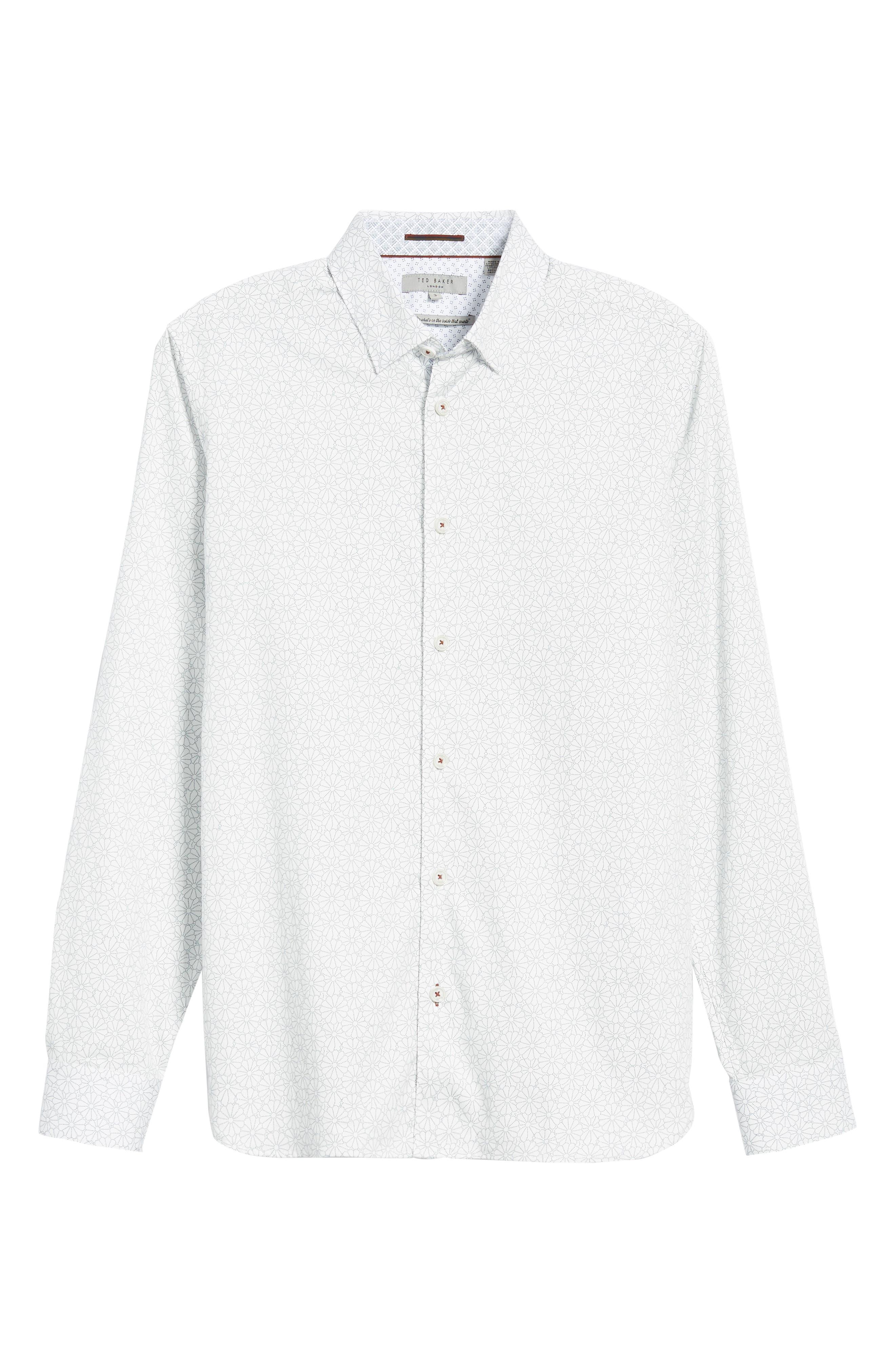 Finsbur Slim Fit Floral Sport Shirt,                             Alternate thumbnail 5, color,                             WHITE