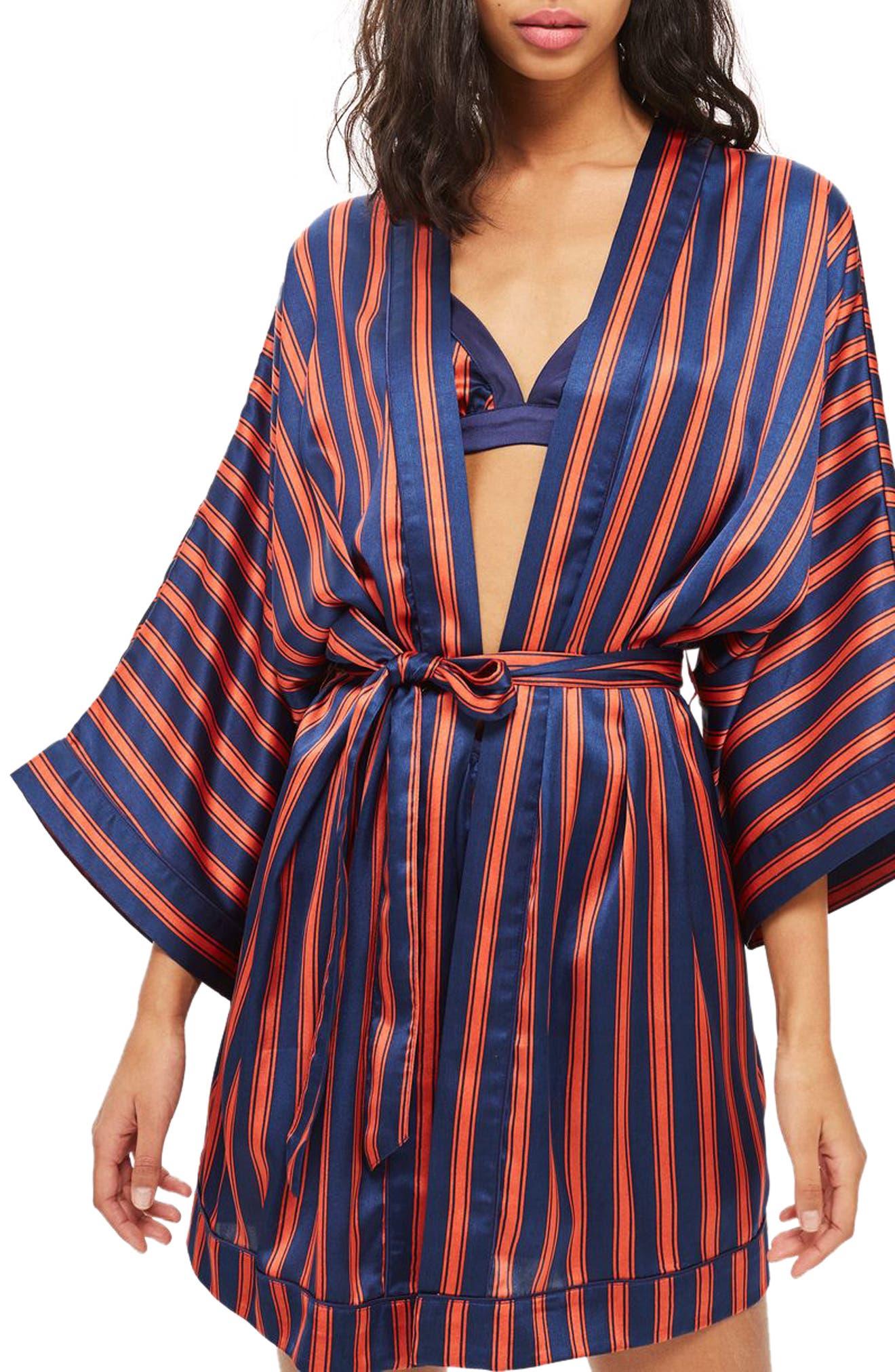 Stripe Satin Short Robe,                         Main,                         color, NAVY MULTI