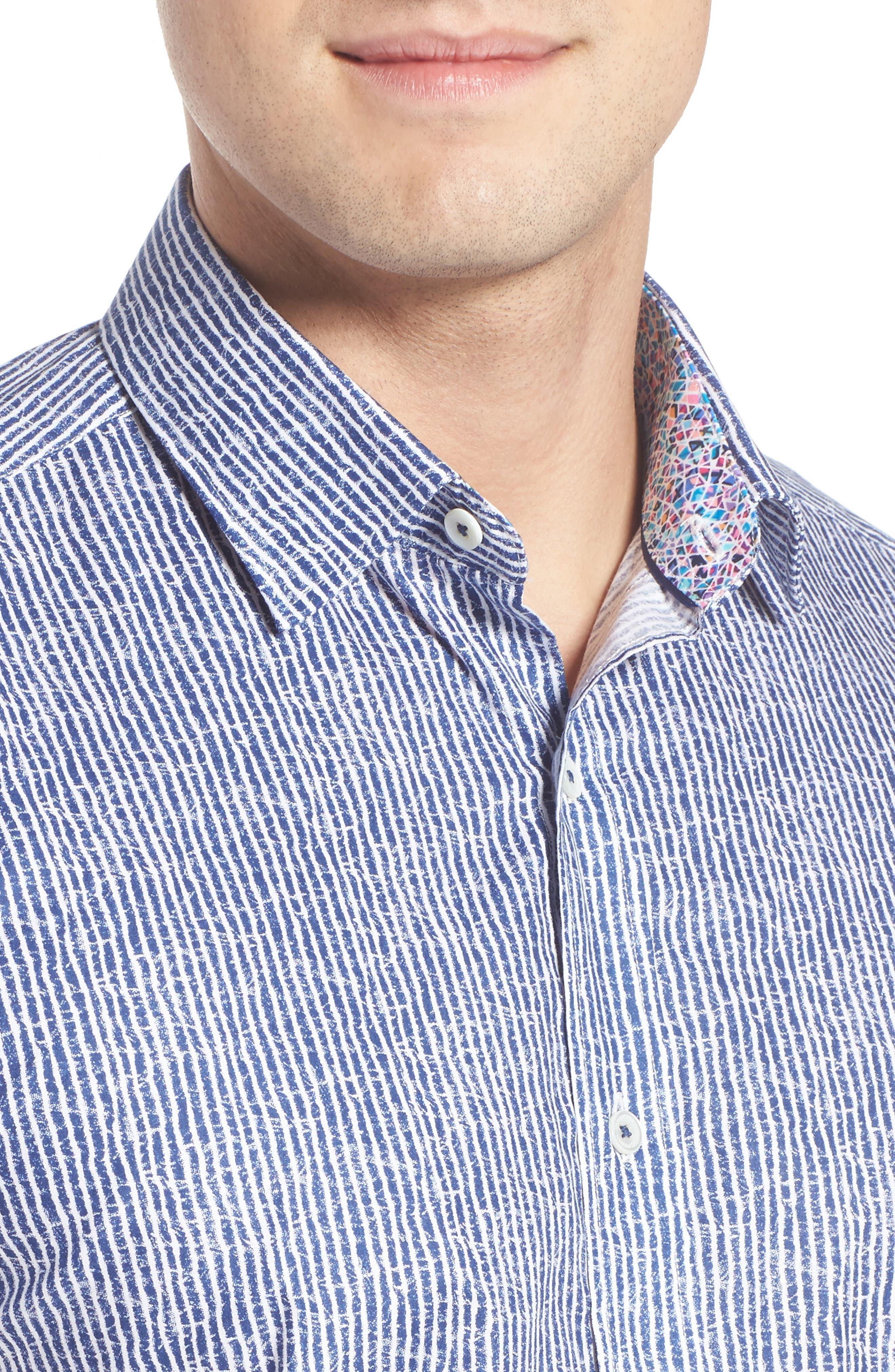 Shaped Fit Stripe Sport Shirt,                             Alternate thumbnail 28, color,