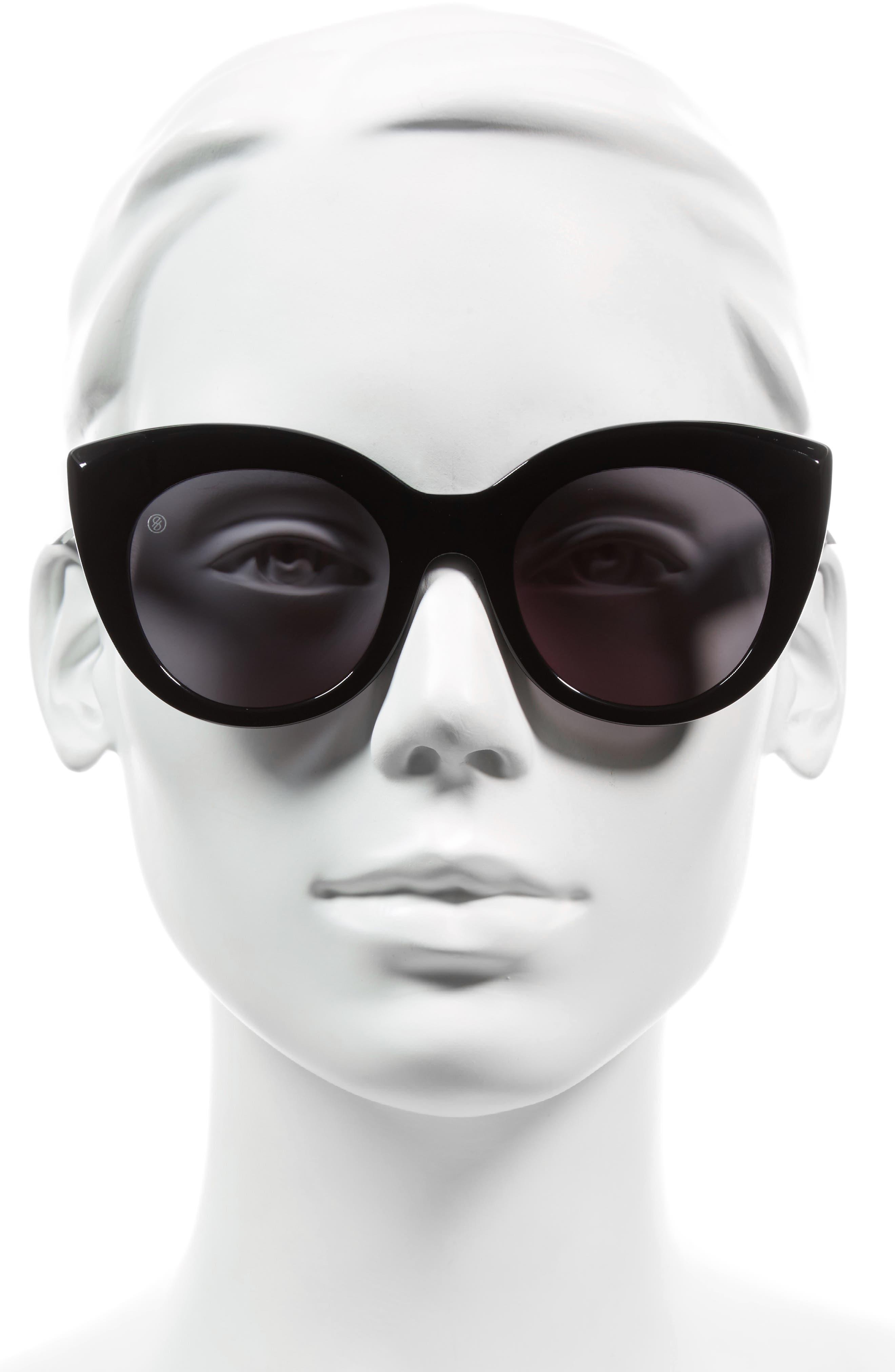 D'BLANC Modern Lover 49mm Cat-Eye Sunglasses,                             Alternate thumbnail 2, color,                             001