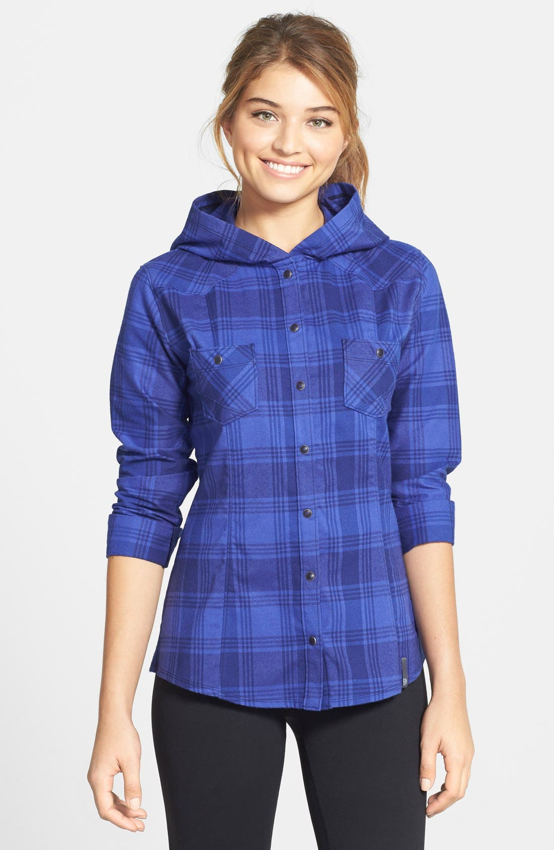 MOUNTAIN HARDWEAR 'Stretchstone Flannel<sup>™</sup>' Hooded Shirt, Main, color, 401