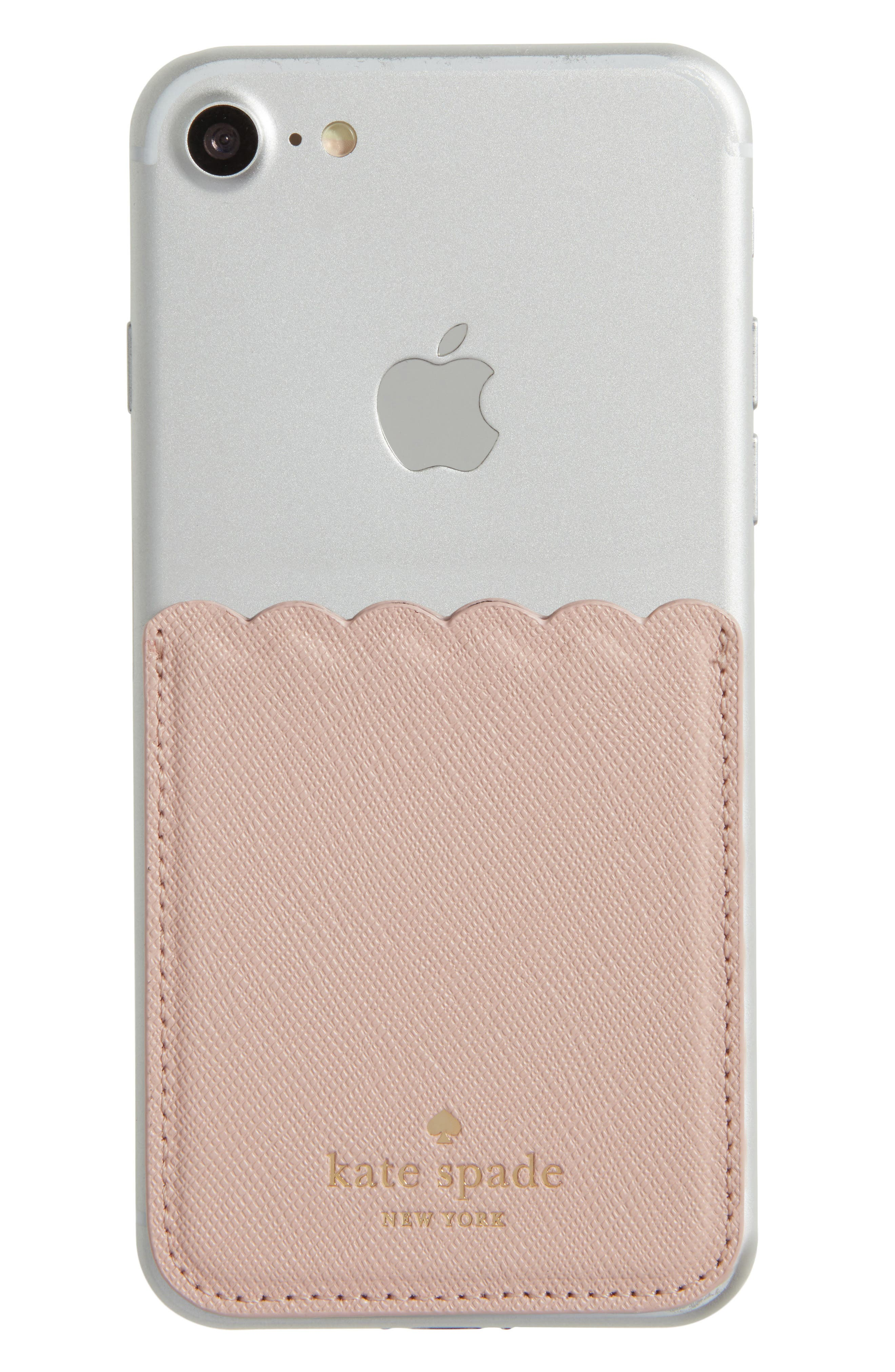 scallop leather stick-on smartphone case pocket,                             Alternate thumbnail 14, color,