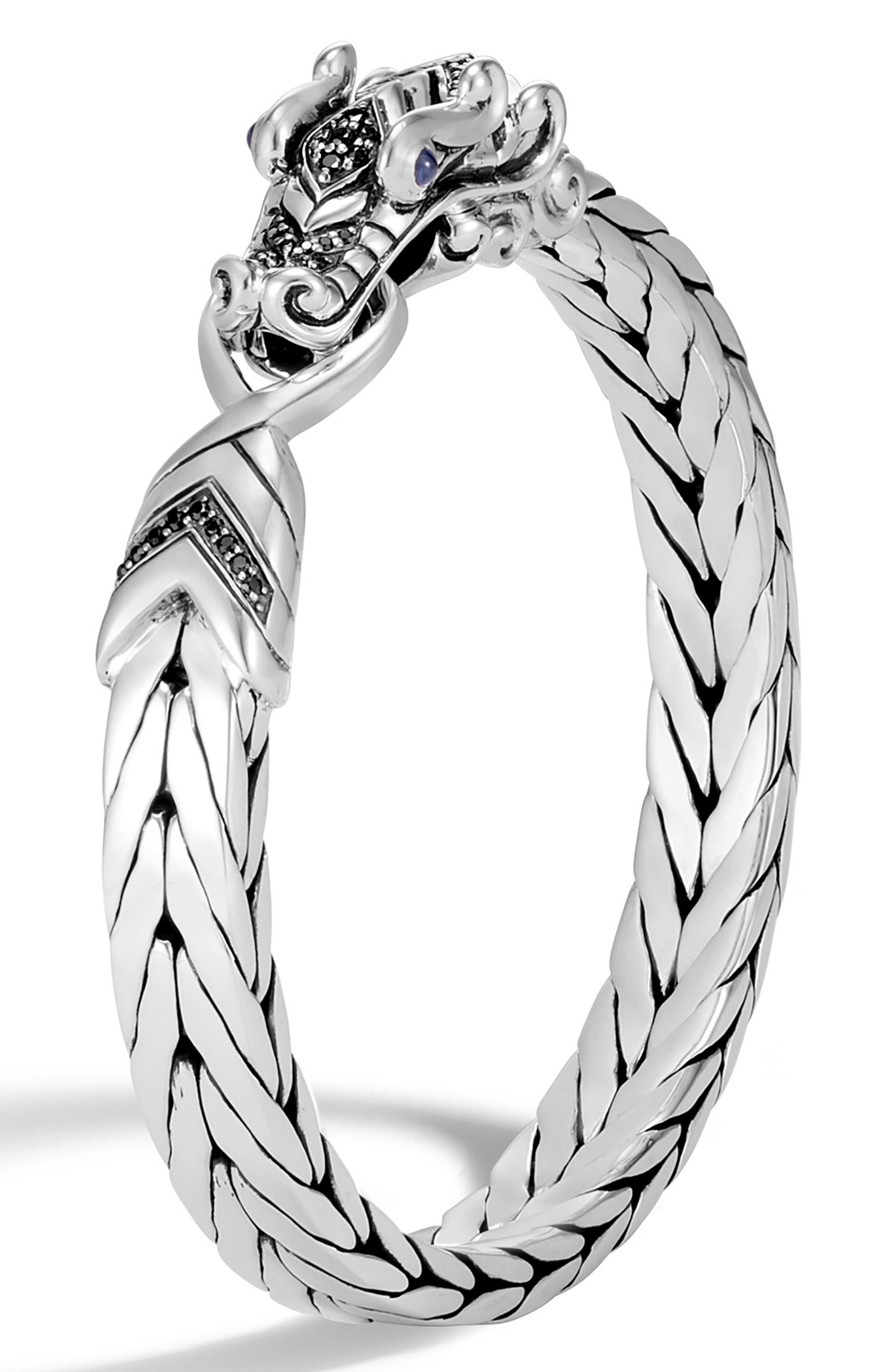 Men's Legends Naga Bracelet,                         Main,                         color, SILVER/ BLACK SAPPHIRE BLACK