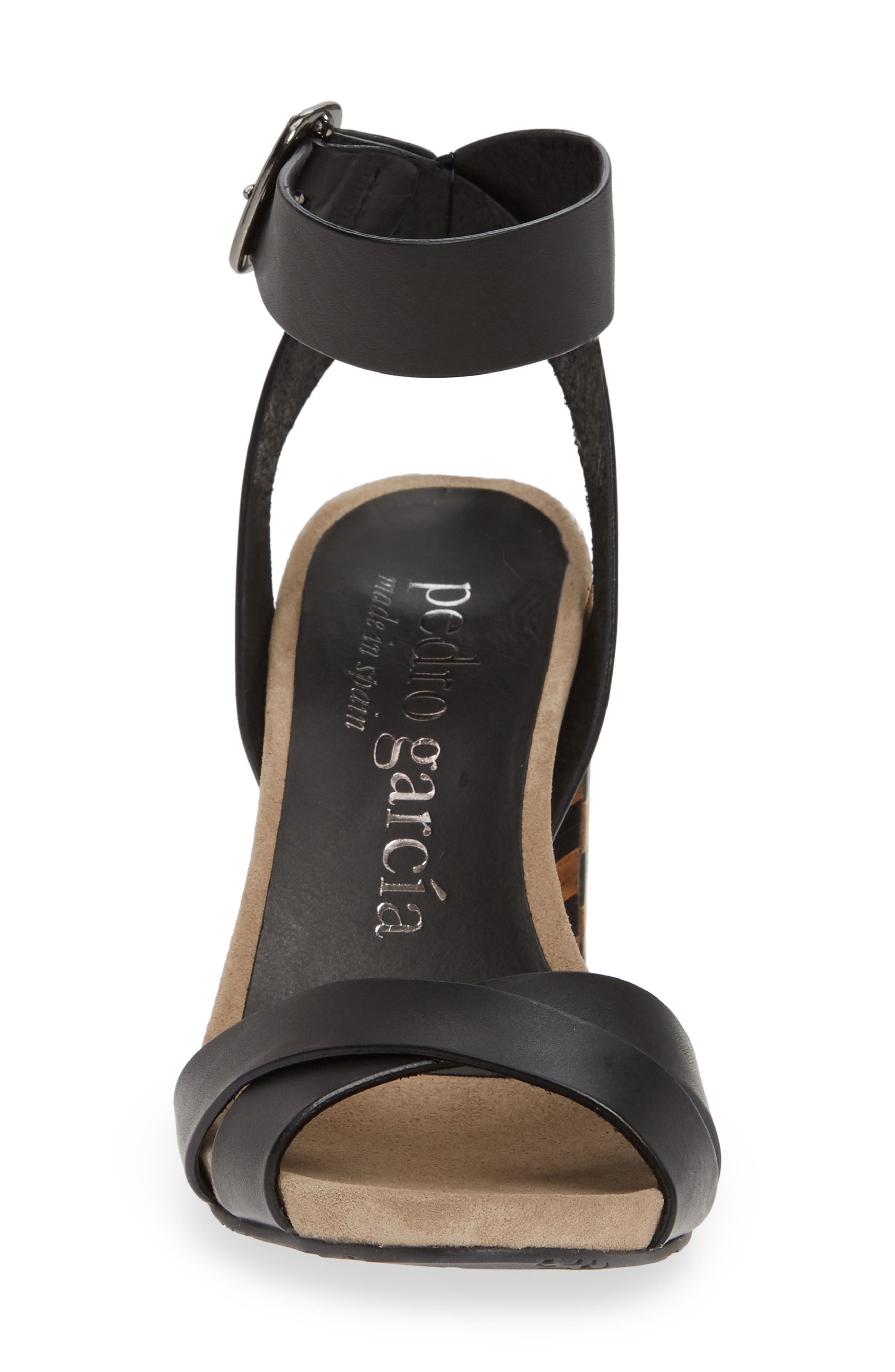 Yemba Embellished Heel Sandal,                             Alternate thumbnail 4, color,                             BLACK VACCHETTA