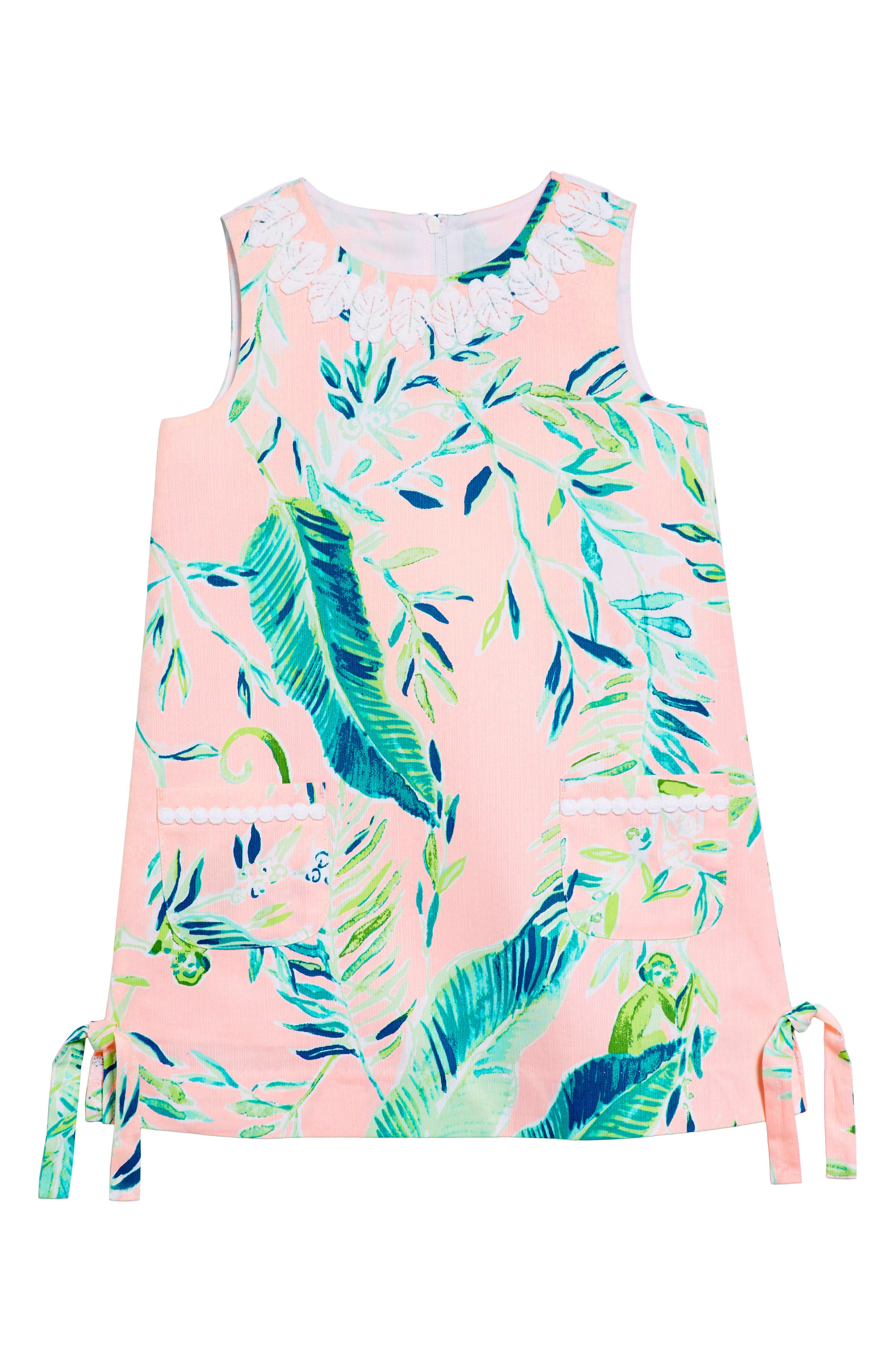 Little Lilly Classic Shift Dress,                         Main,                         color, CORAL REEF TINT CHIMPOISERIE