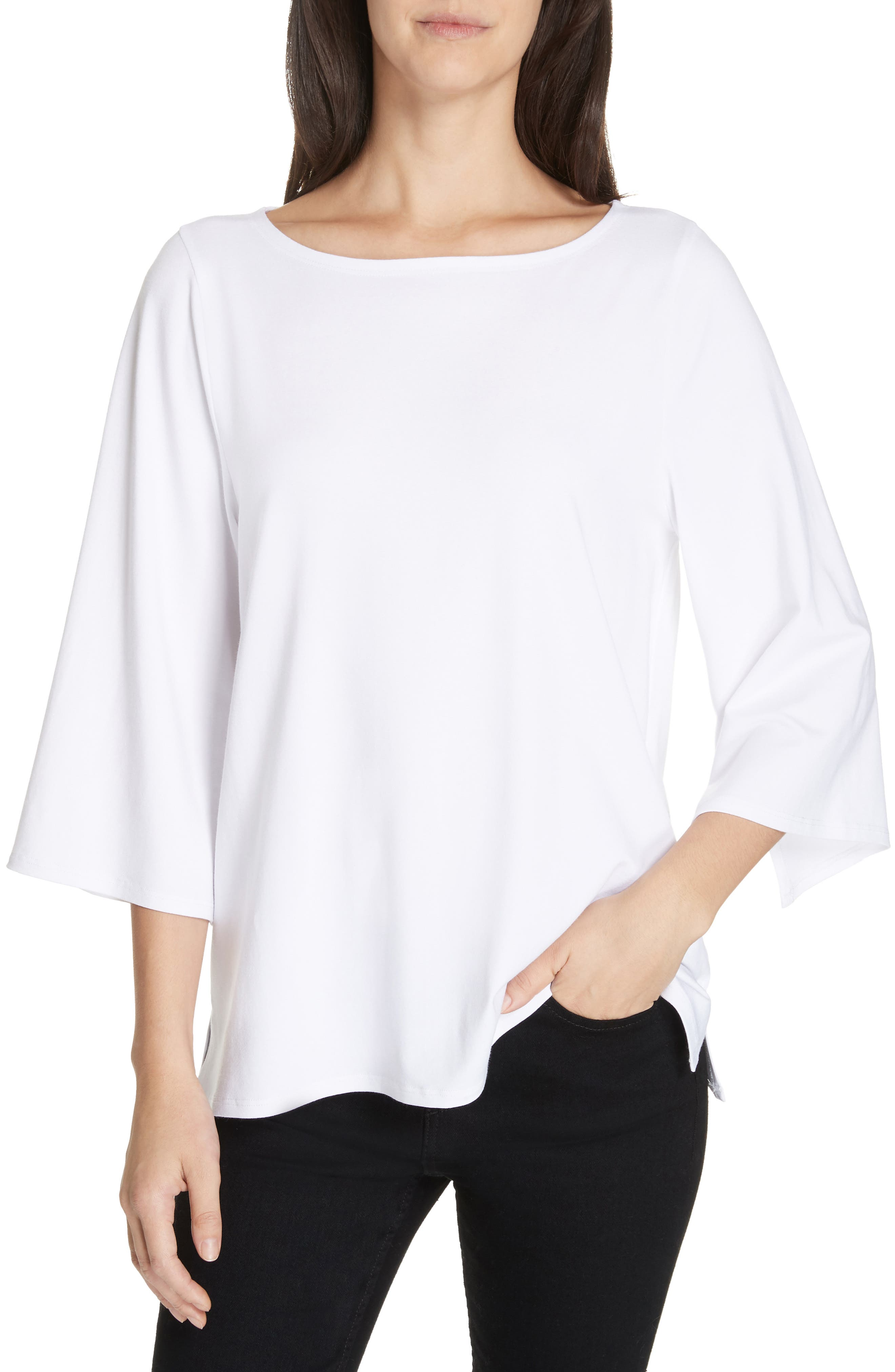 Plus Size Eileen Fisher Bell Sleeve Jersey Top