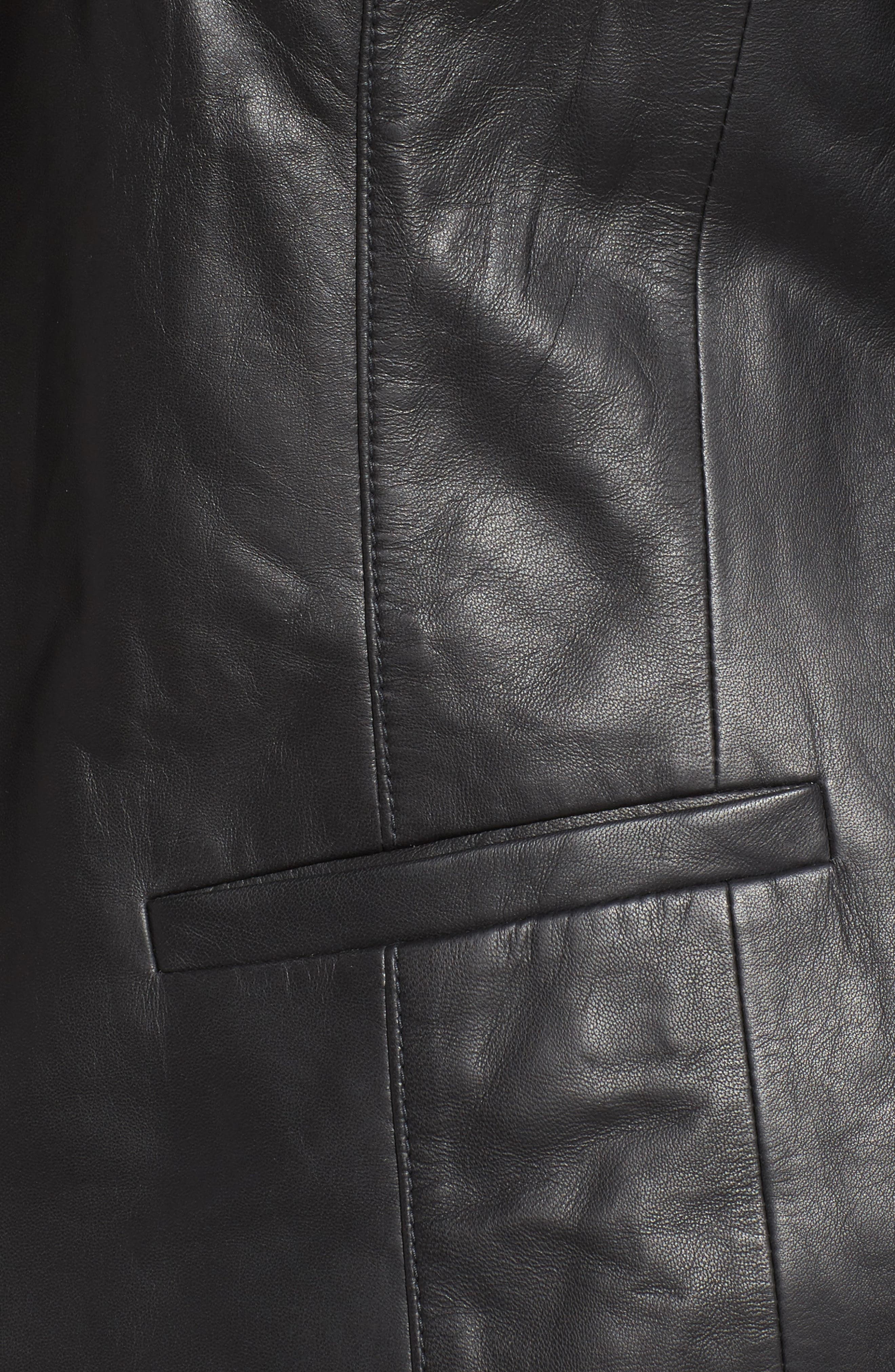 Leather Blazer,                             Alternate thumbnail 6, color,                             001