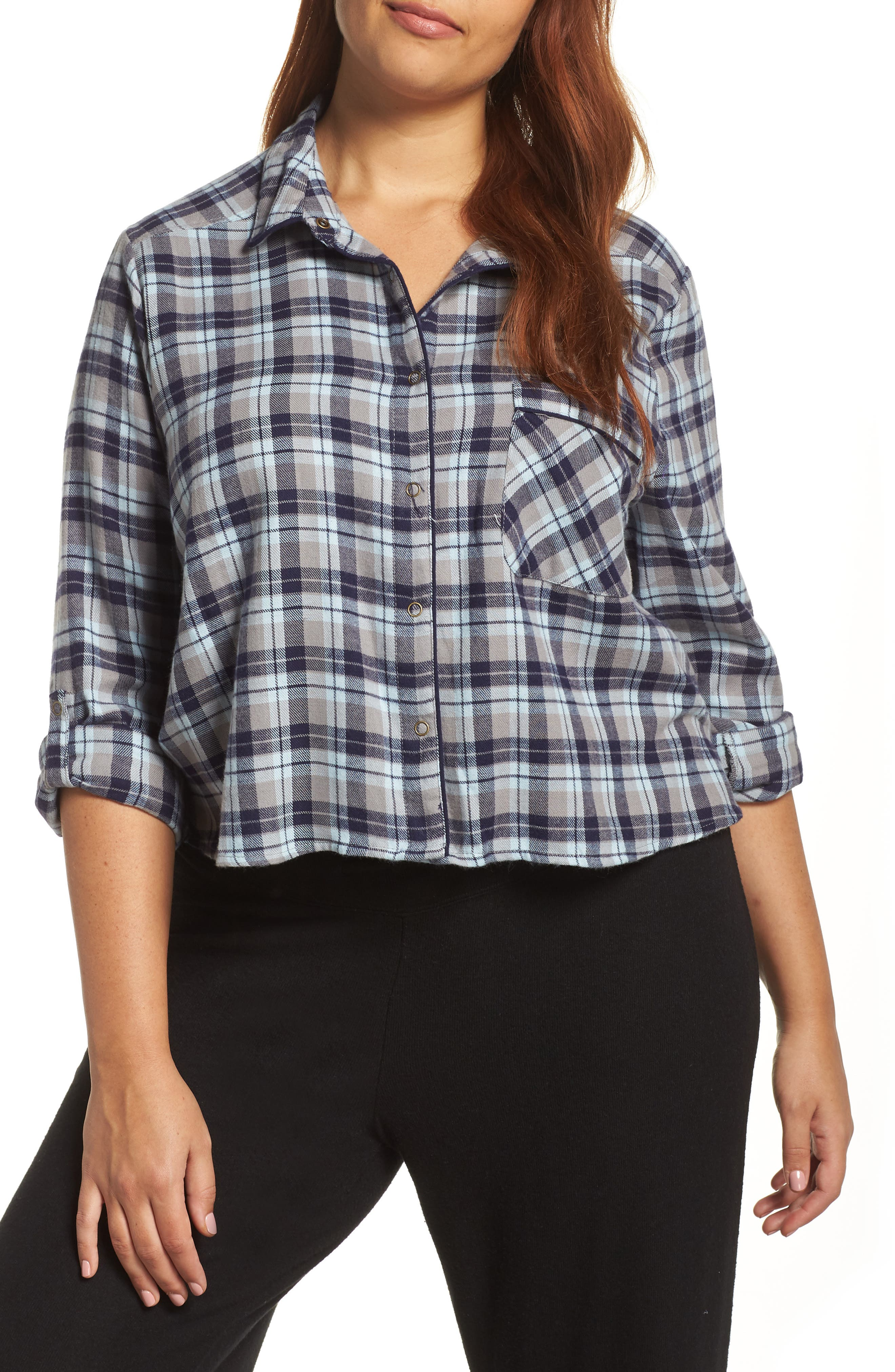 Crop Flannel Pajama Top,                             Alternate thumbnail 2, color,                             310